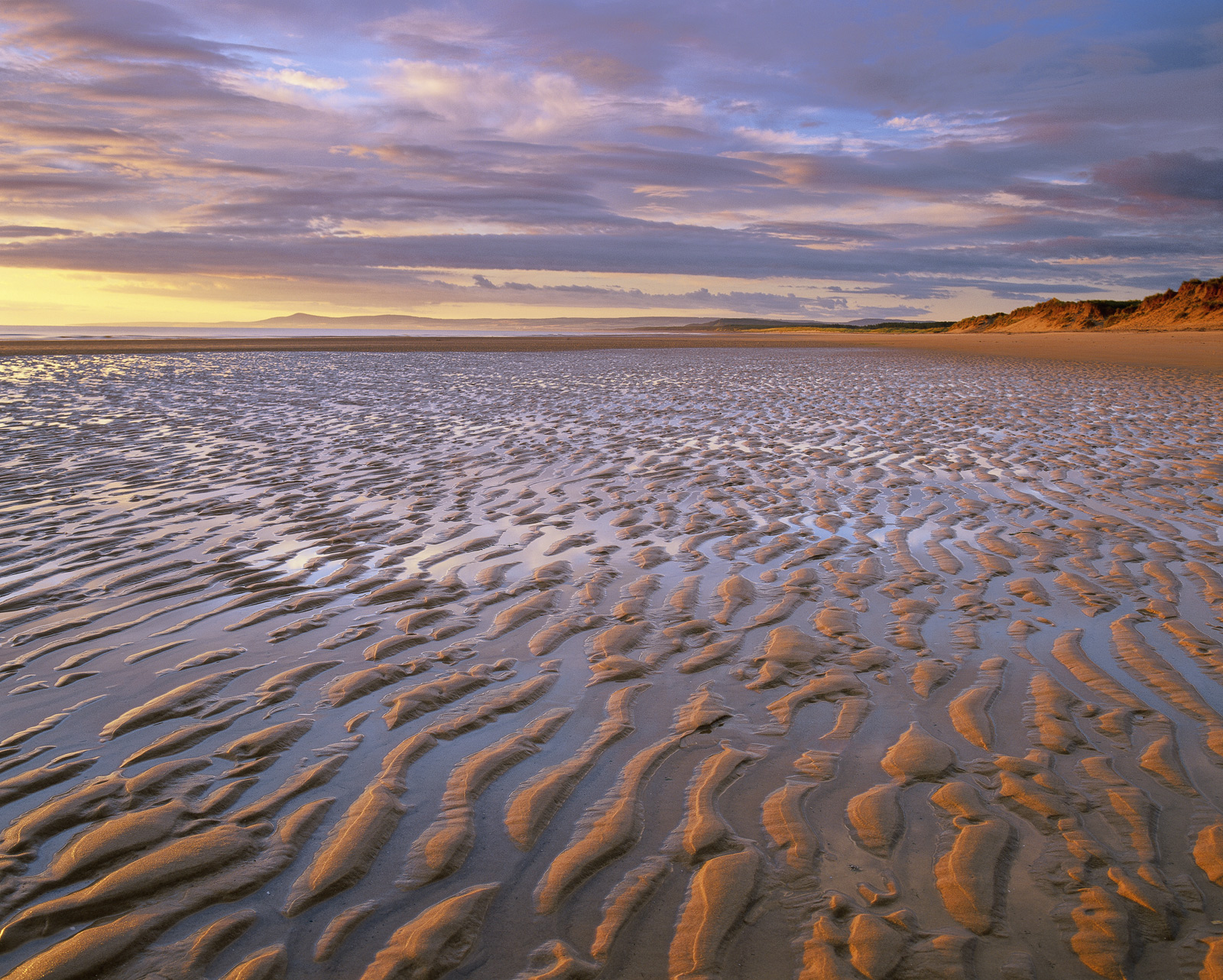 Lines of rippled sand stretch away into the distance on Lossiemouth's east beach backed by dunes. As the sun creeps above...