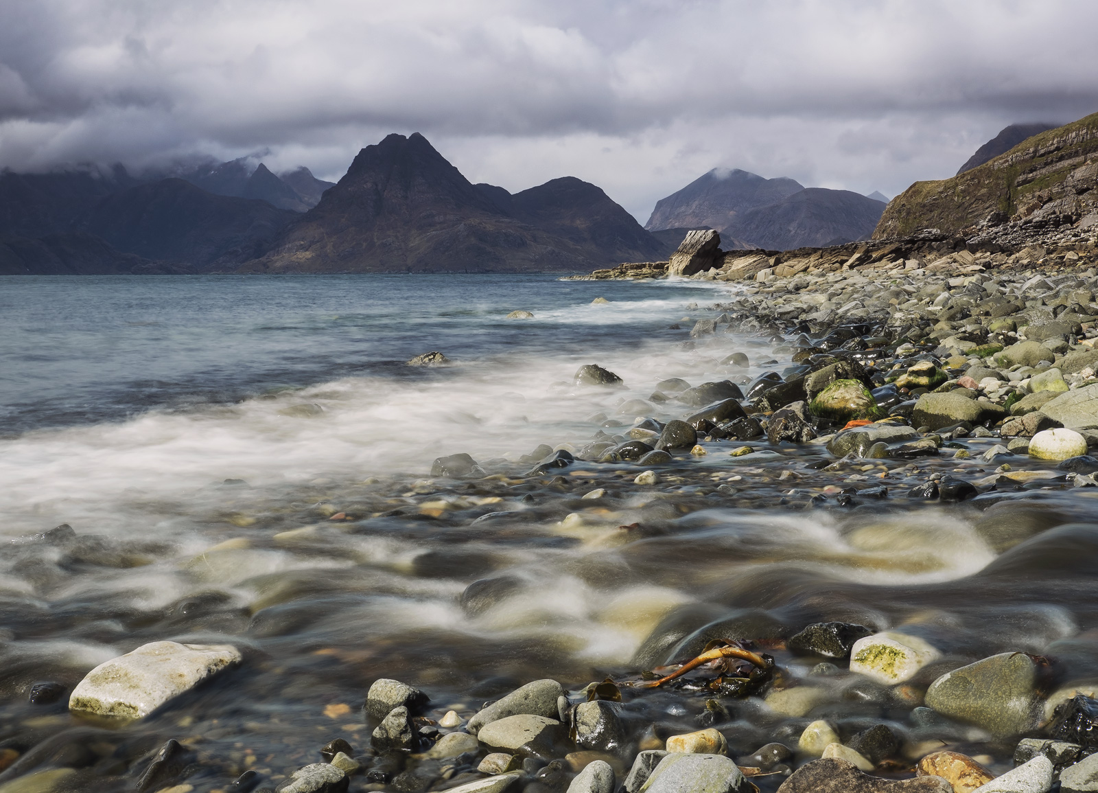 The brooding mountains that form the Cuillins ridge dominate the skyline at Elgol with their Tolkeinesque appearance when inky...