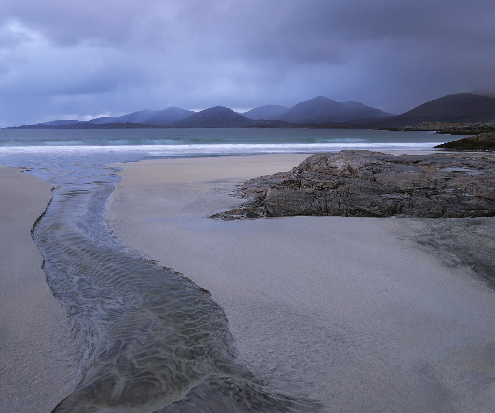 Rosamol Blues, Traigh Rosamol, Harris, Scotland, blueberry, ripple, peaks, rain, storm, pattinated, sand, gneiss, rock, , photo
