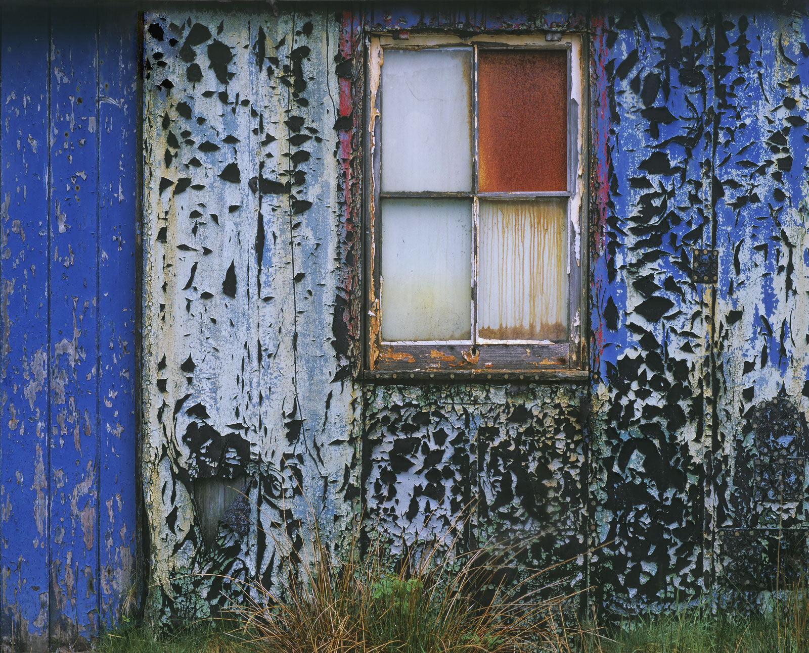 Rough and Unsteady, Kinlochbervie, Assynt, Scotland, shed, road, texture, peeling, paint, colours, combination, rusted, , photo