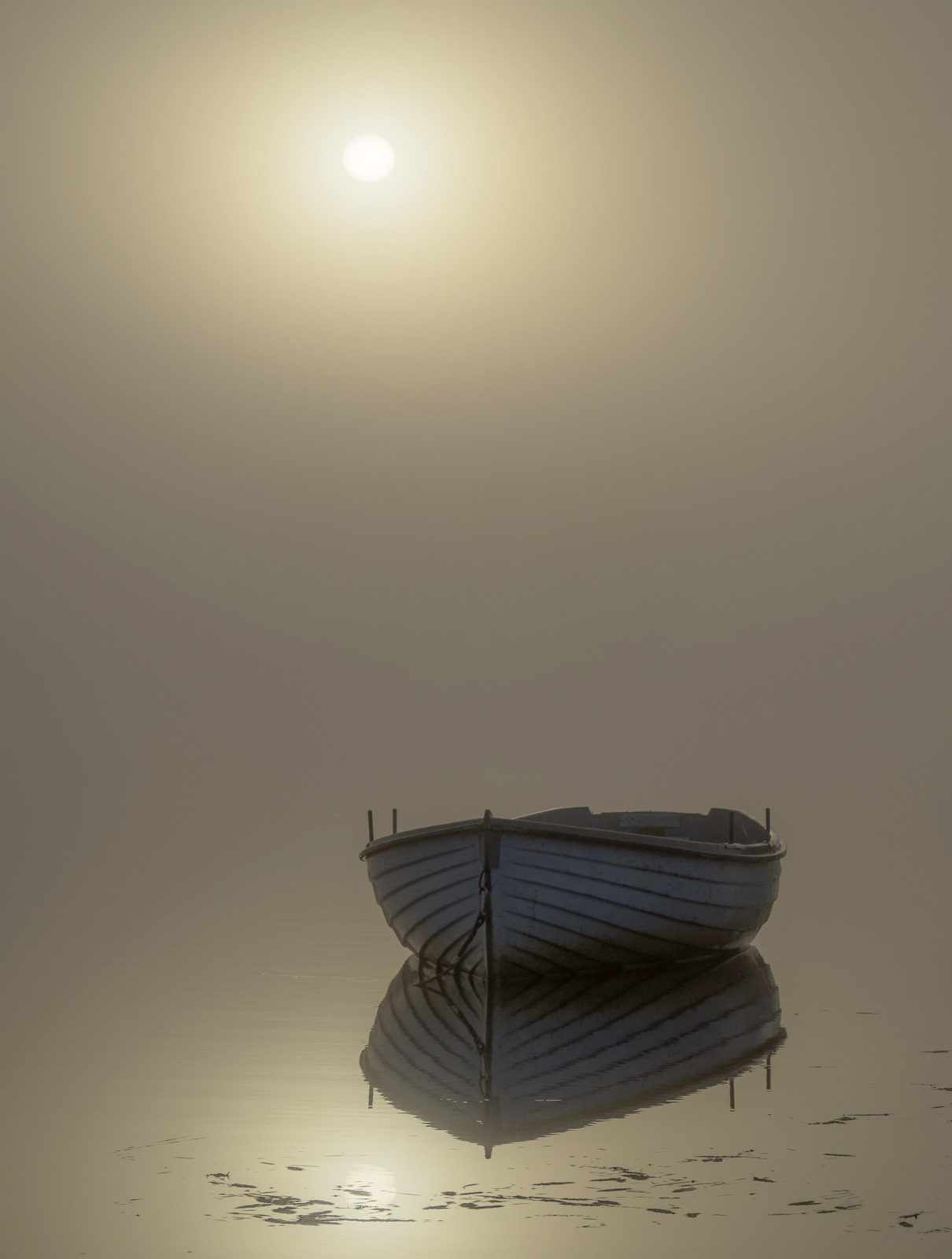 Rusky Gold 3, Loch Rusky, Trossachs, Scotland, pair, pale blue, rowing boats, wood, mirror, ethereal, reflection, mist, , photo