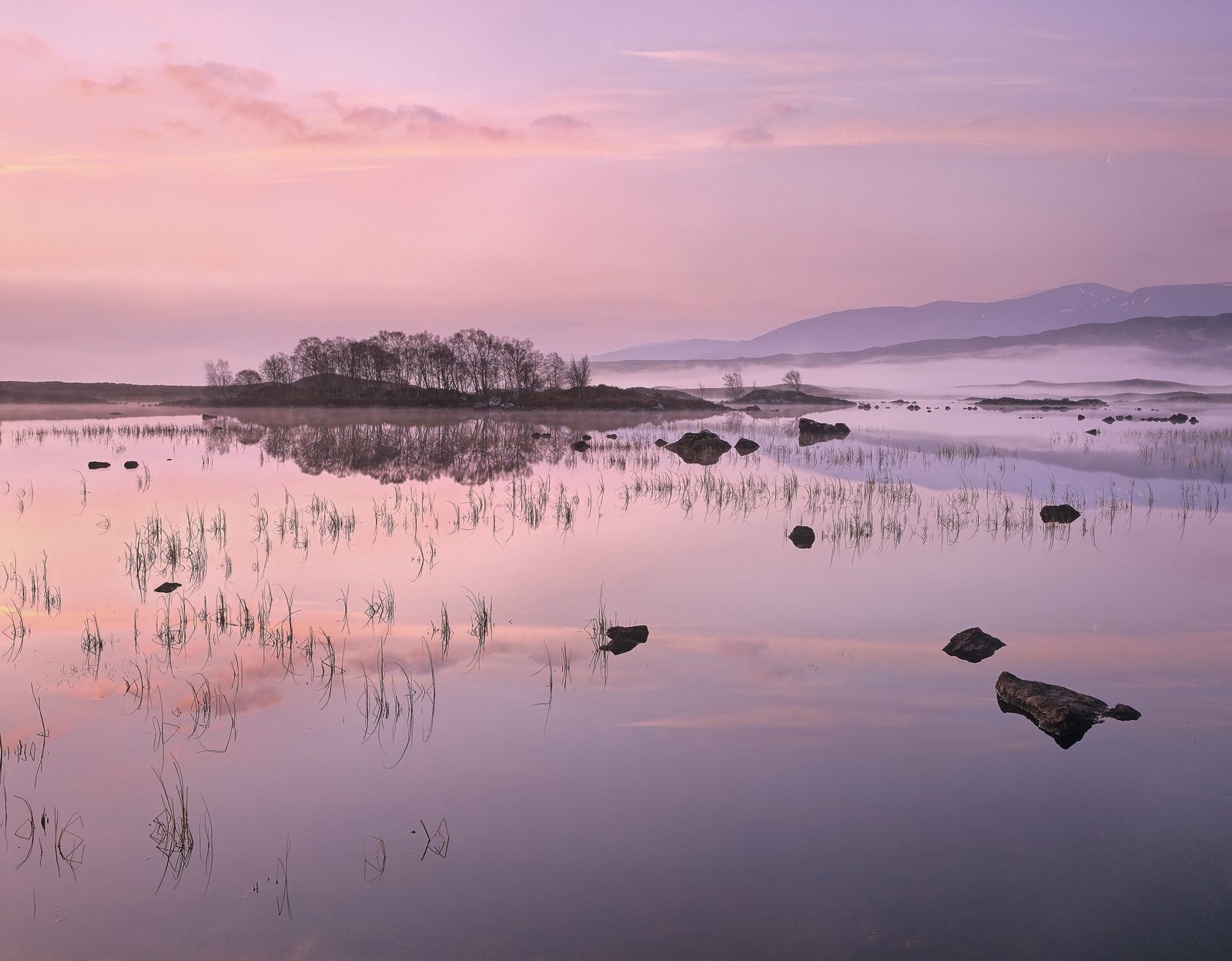 A salmon pink sunrise materialises silently over misty Loch Ba on Rannoch moor. The perfectly still conditions ensure a...