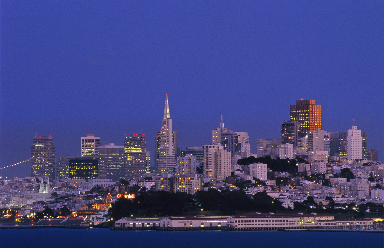 The San Francisco skyline photographed during that delightful period of crossover lighting when the ambient light is similar...