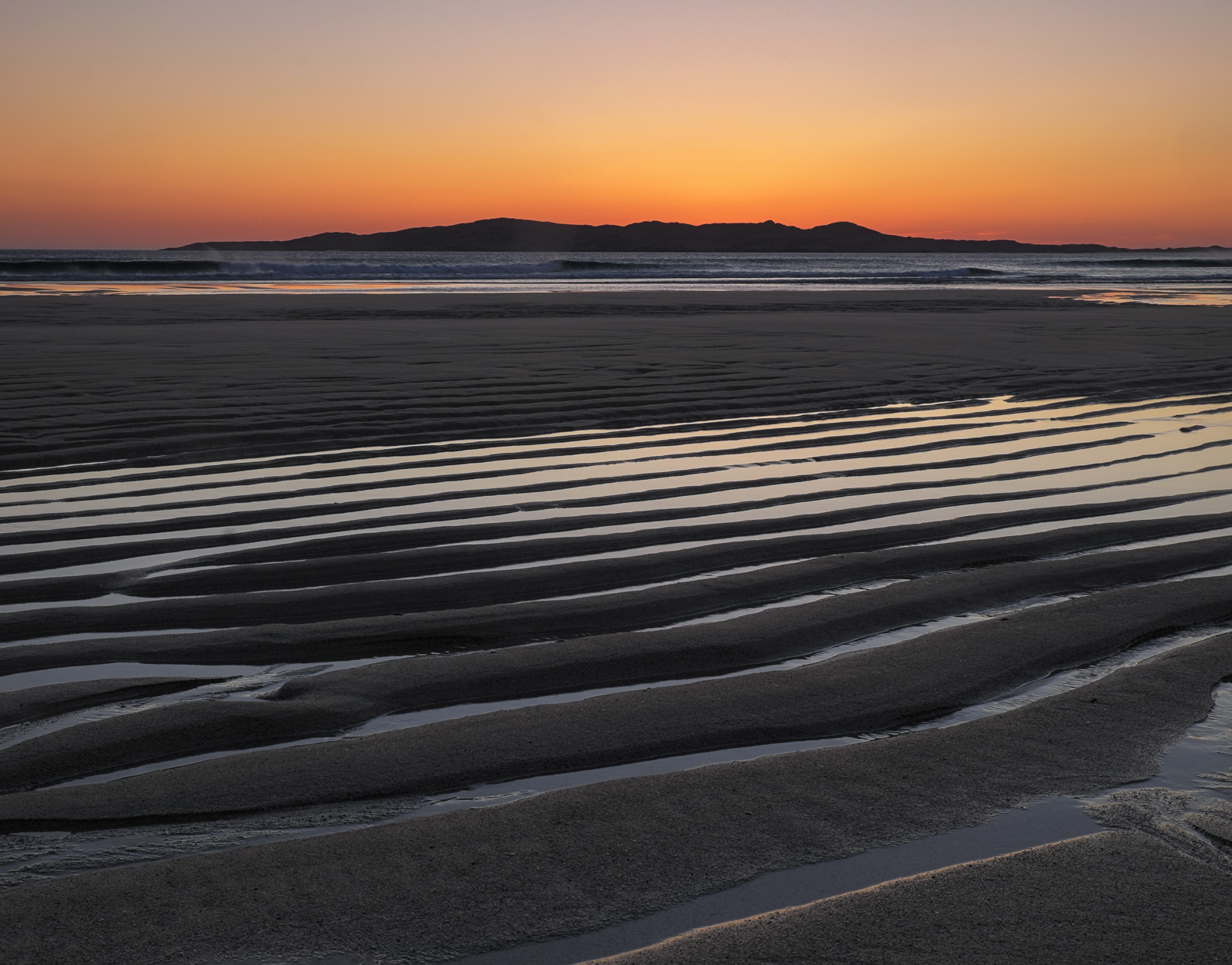 Satsuma Sandbars 3, Traigh Lar, Harris, Scotland, island, weather, bright, orange, twilight, tide, etched, lines, ribbed, photo