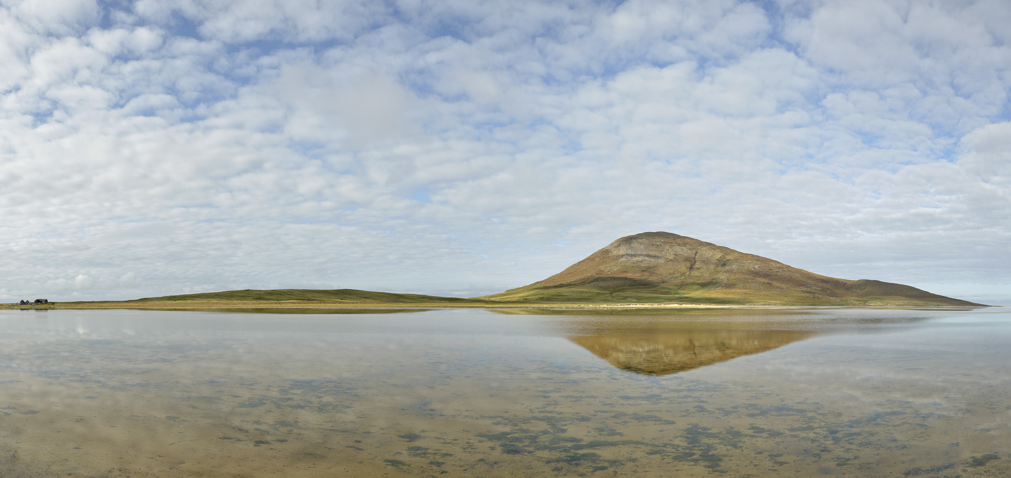 Scarasta Salt Marsh Pano, Scarasta, Harris, Scotland, lucky, immense, reflection, Celapabhal, shallow, salt marsh, cotta, photo