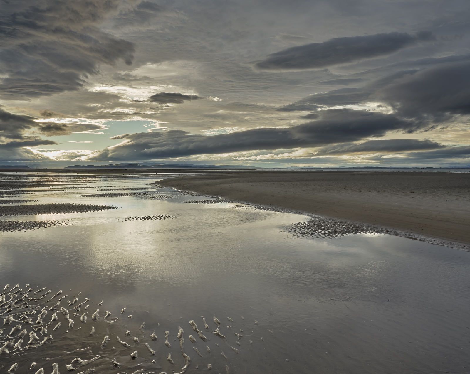 Scintillating Findhorn, Findhorn, Moray, Scotland, awesome, multi-layered, cloud, sunset, steely blue, tan, sand, ripple, photo