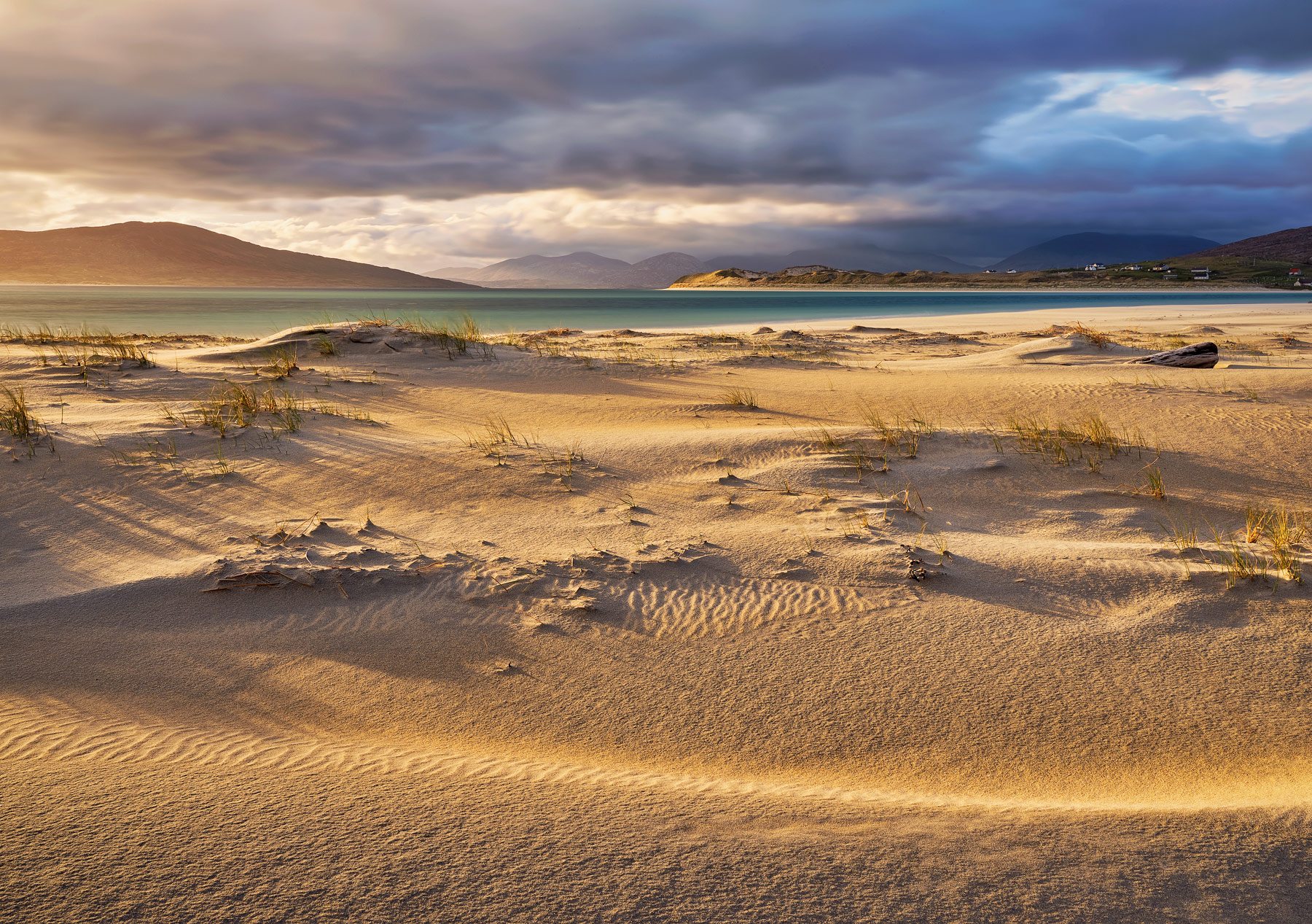 Afternoon sunlight grazes the sand beds adjacent to the Seilebost dunes at Seilebost beach in Luskentyre bay, Harris