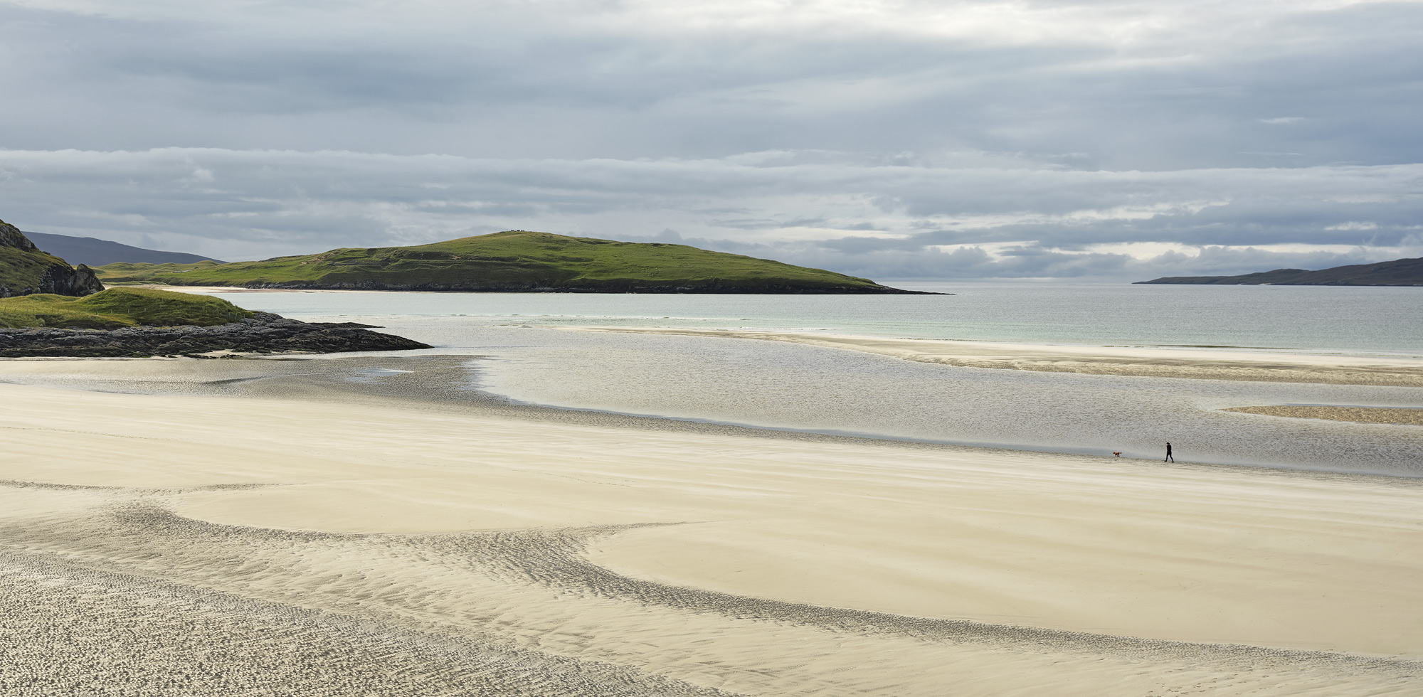 Seilebost Stroller, Seilebost, Harris, Scotland, silvery, light, person, single, scale, sand, patterns, perfection,, photo