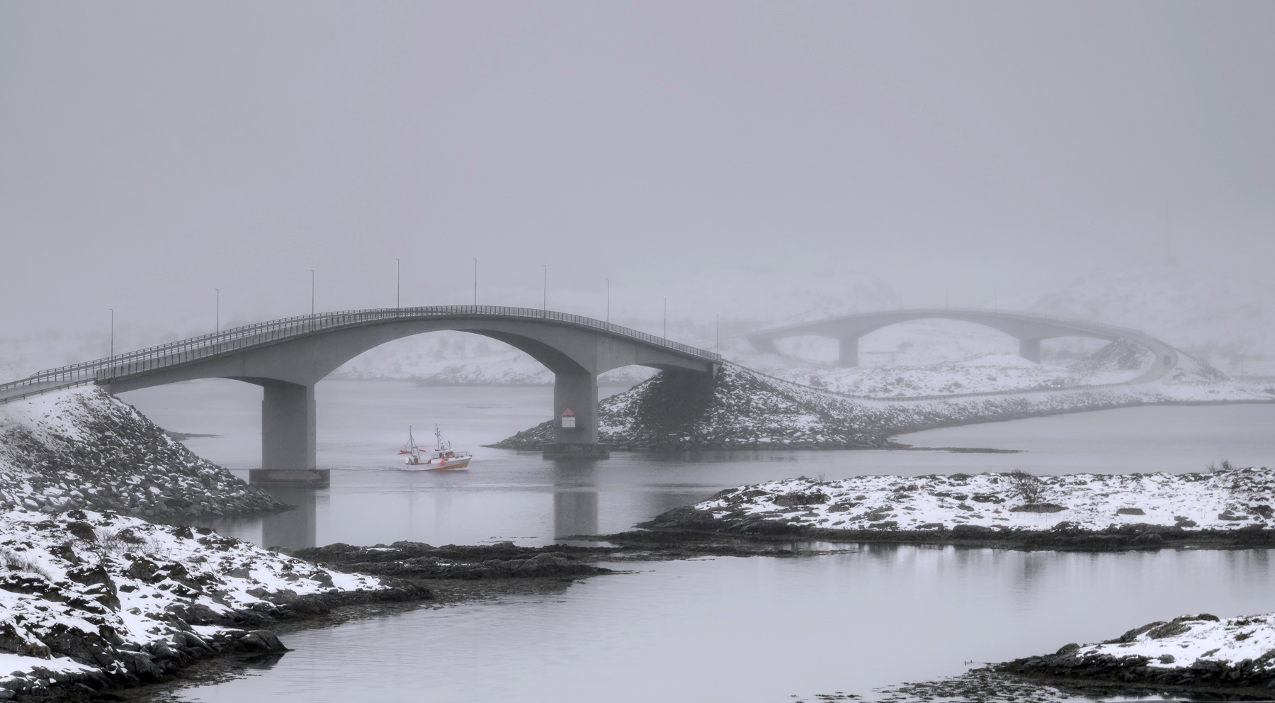 Selfjord Twinned Elegance, Selfjord, Lofoten, Norway, bridges, splendour, quiet, understated, sartorial, mist, fishing, , photo