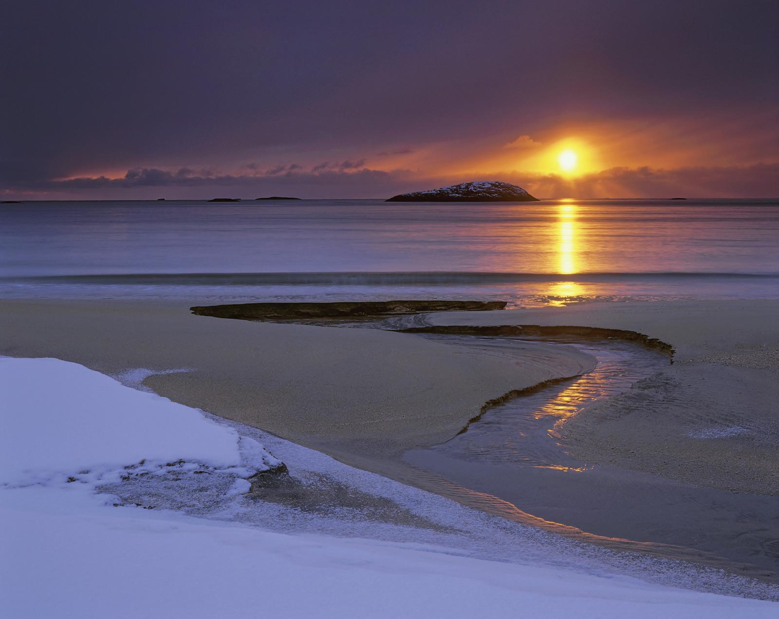 Senja Sublime, Bovaer, Senja, Norway, beach, sun, snow, black, rocks, sandy, sunset, apricot, clouds, crespecular, rays,, photo