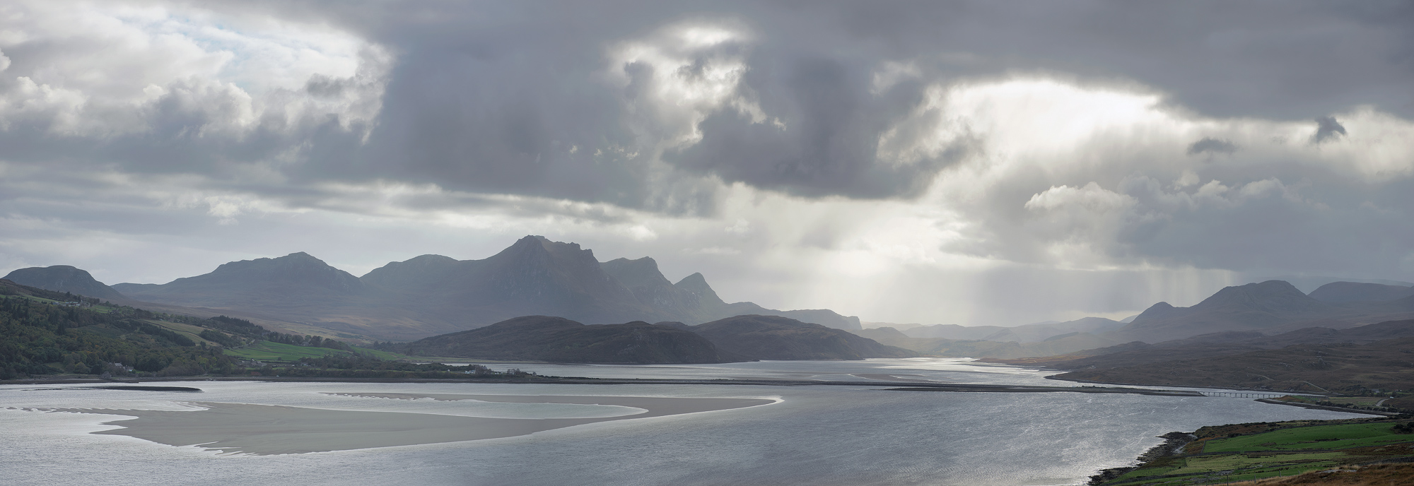 Skinnet View Pano, Skinnet, Sutherland, Scotland, Tongue, estuary, tidal excursion, tide, sand, pastel, beige, blue, col, photo