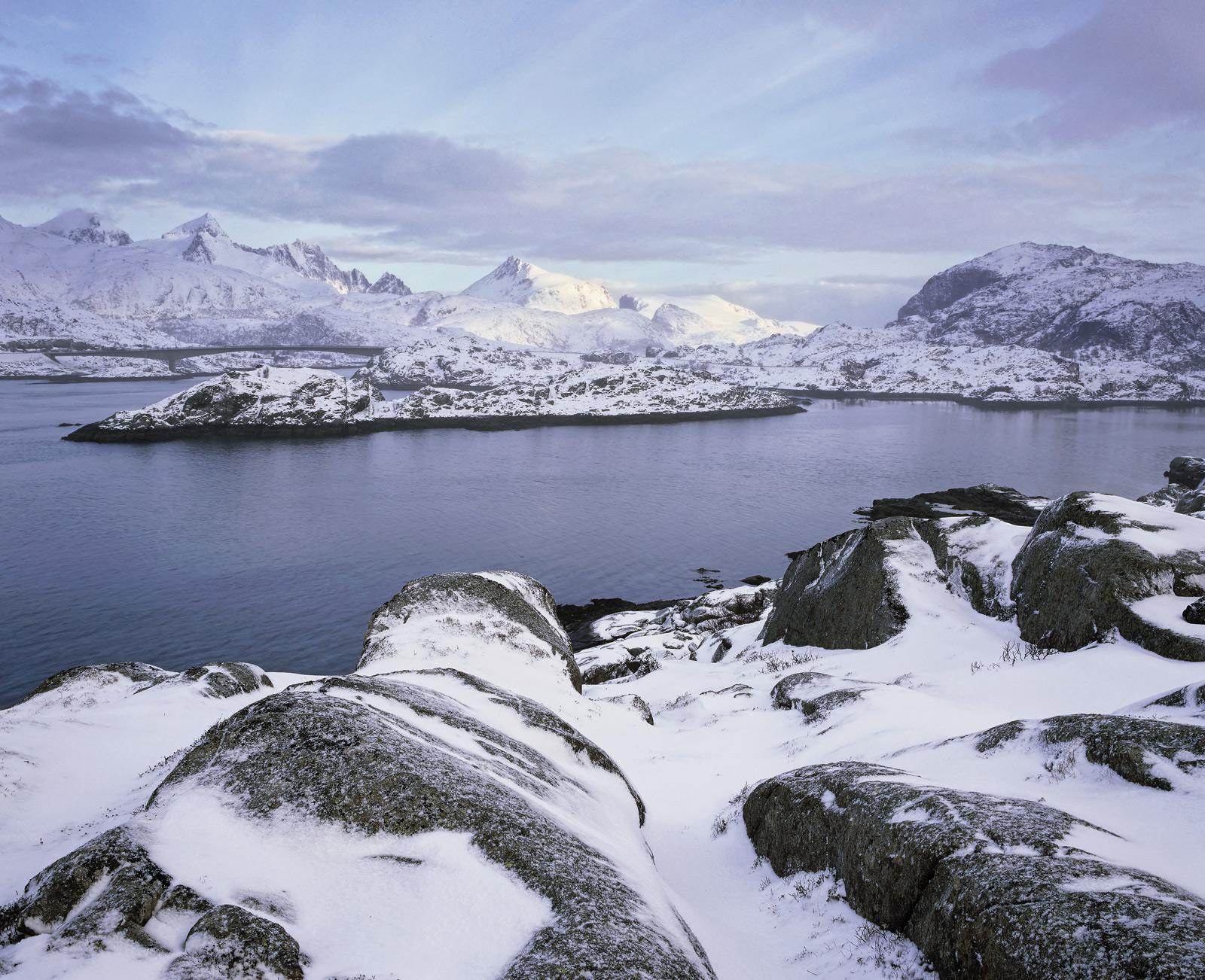 Sound Of Sund, Sund, Lofoten, Norway, beautiful, sunrise, soft, snow, delicate, misty, weather, sunlit, peaks, ethereal, photo