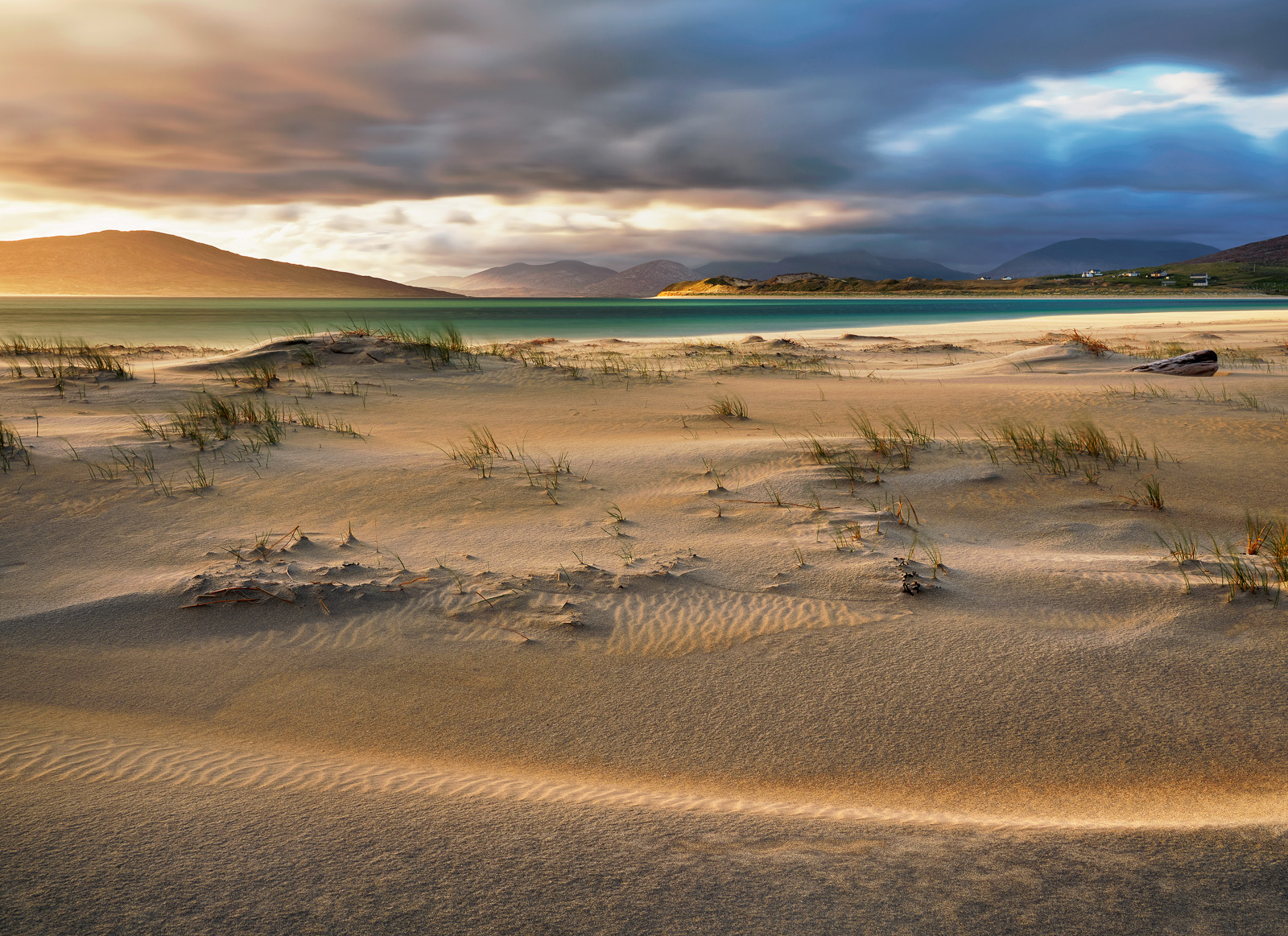 Beautiful soft light gently lit the sand beds at Seilebost beach on Harris next to the dunes.