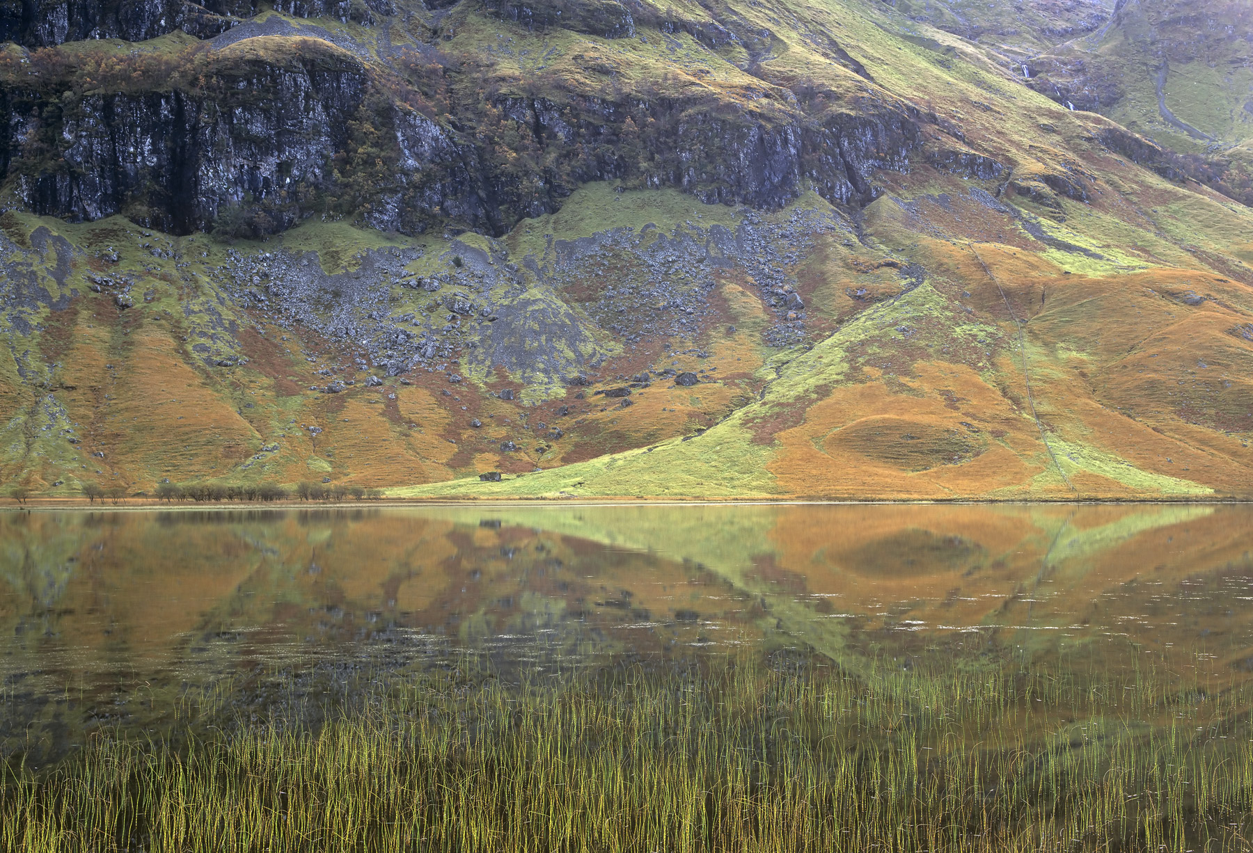 This small lochan at the foot of the Glencoe valley is surrounded by the massive bulk of the Three sisters which rise almost...
