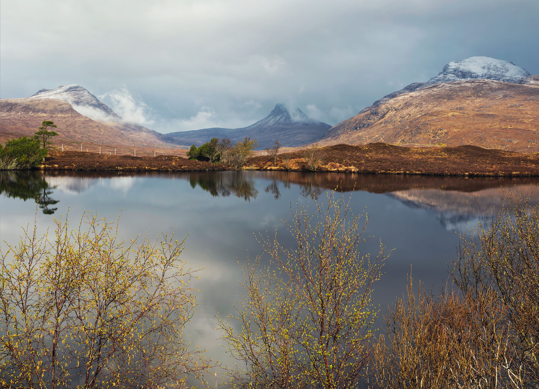 Snow capped Coigach ridge, Cul Mor and distinctive Stac Pollaidh reflect in Loch Culdromman bordered by new growth Birch trees.