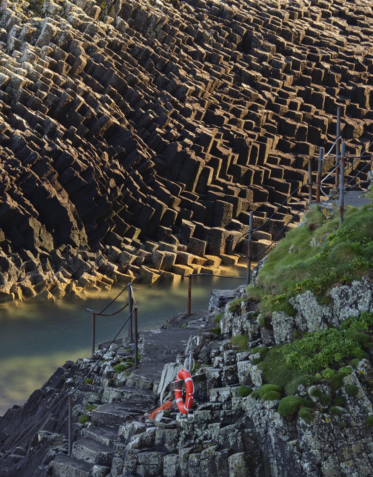 Staffa Landing Bay, Staffa, Inner Hebrides, Scotland, stairway, Finagals cave, hexagonal, columns, island, impressive , photo