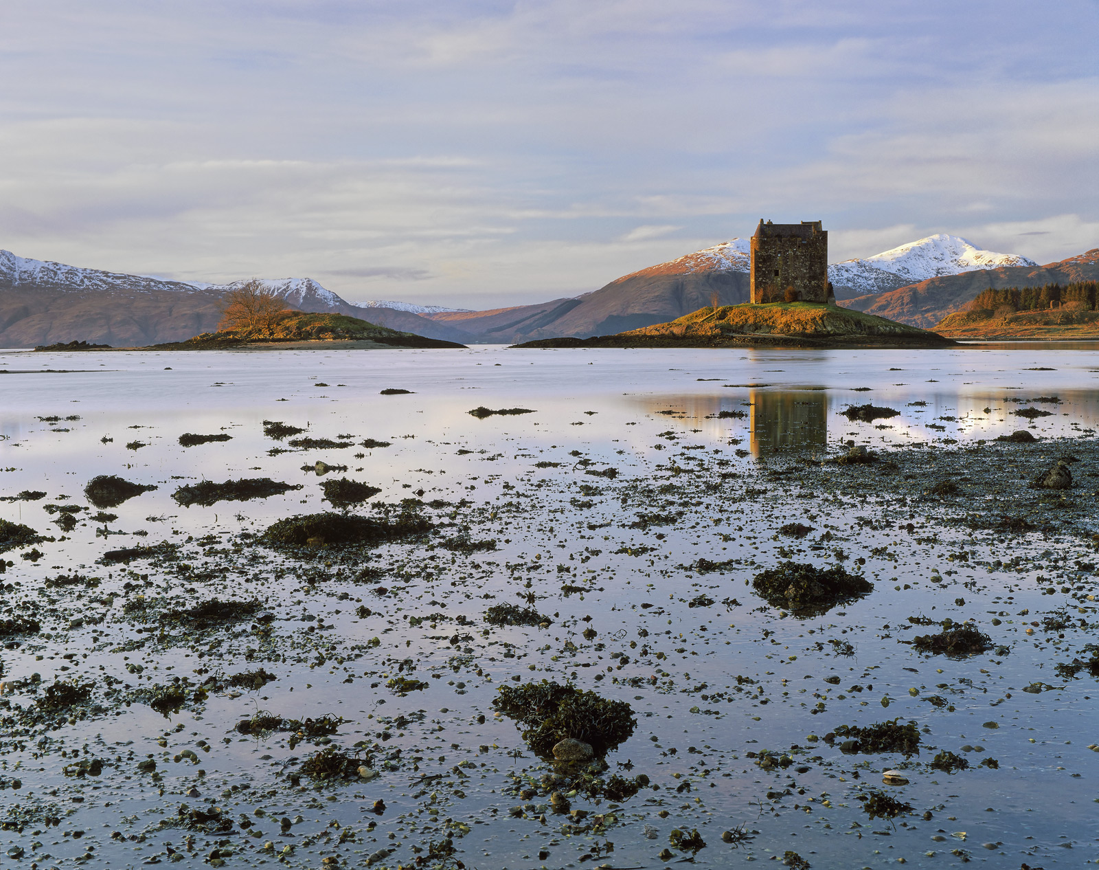 Castle Stalker sits upon a verdant mound of grass on an island at the edge of Appin. It is a perfect location for west...
