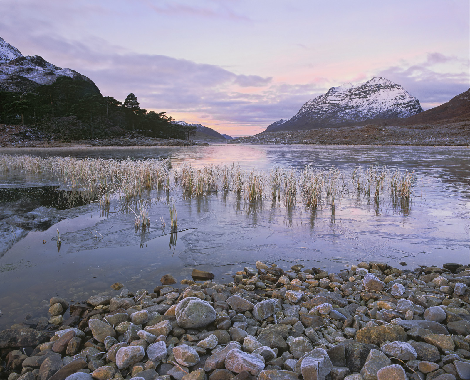 Stone Cold Clair, Loch Clair, Torridon, Scotland, cold, frosty, sun, ice, sub-zero, hoar frost, reeds, reflection, Liath, photo
