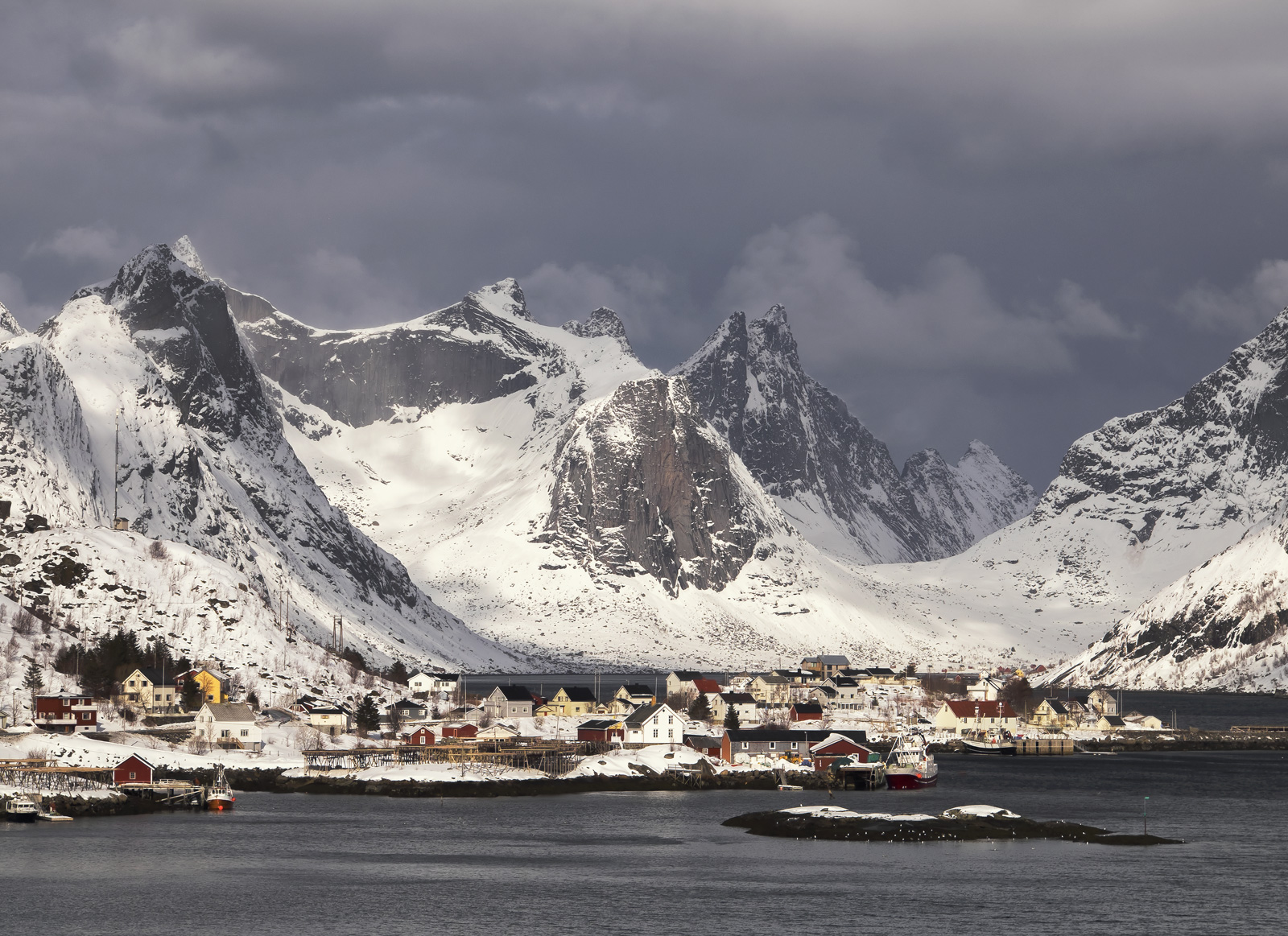 Storm Brewing Reine, Reine Harbour, Lofoten, Norway, storm, blizzard, awesome, white, teeth, idyllic, harbour, mountains, photo