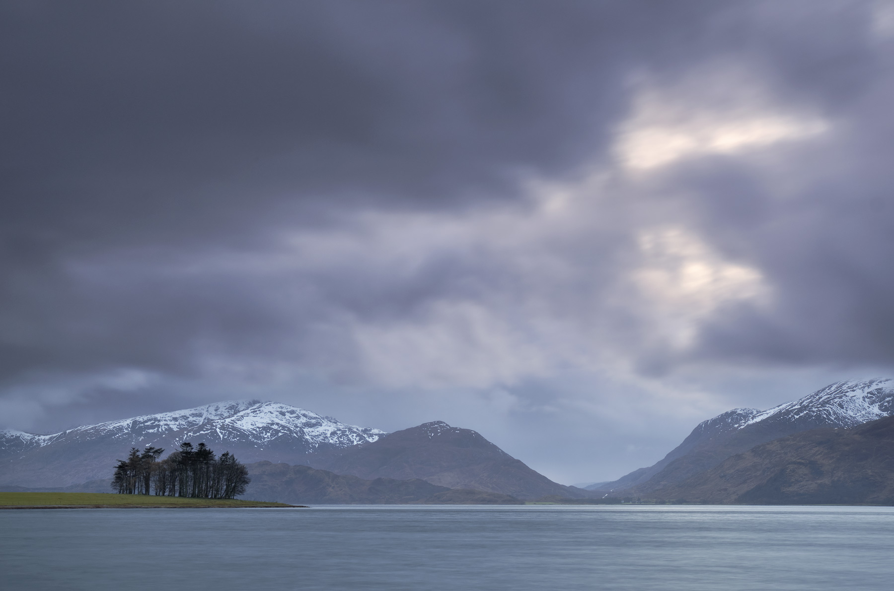 Storm Front Appin, Appin, Argyll, Scotland, rain, biblical, deluge, mountains, lurid, blue, snow, peaks, sombre, trees  , photo