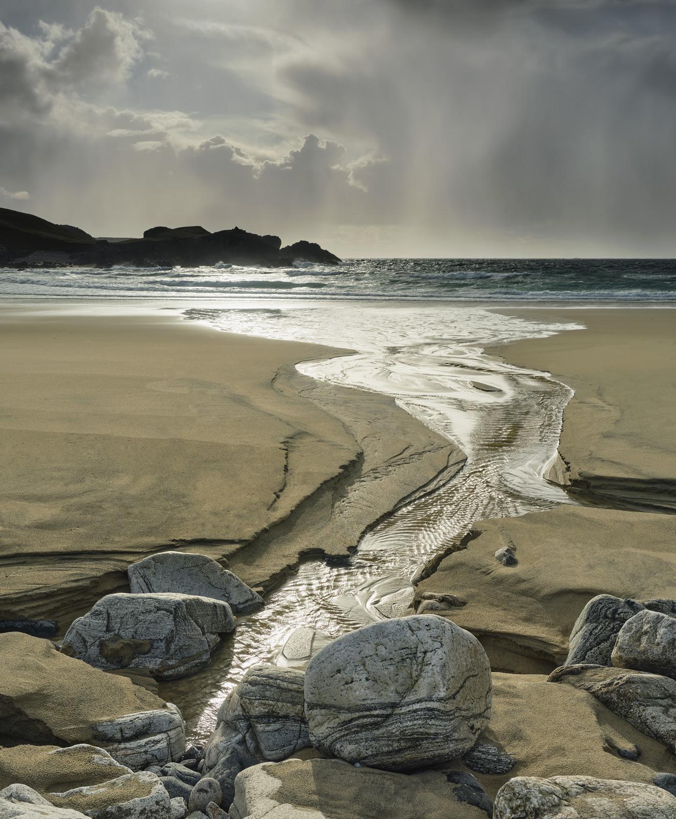 Storm Front Mangerstadh Beach, Mangerstadh Beach Lewis, Scotland, gorgeous, sharp, showers, drenching, gneiss, stream , photo