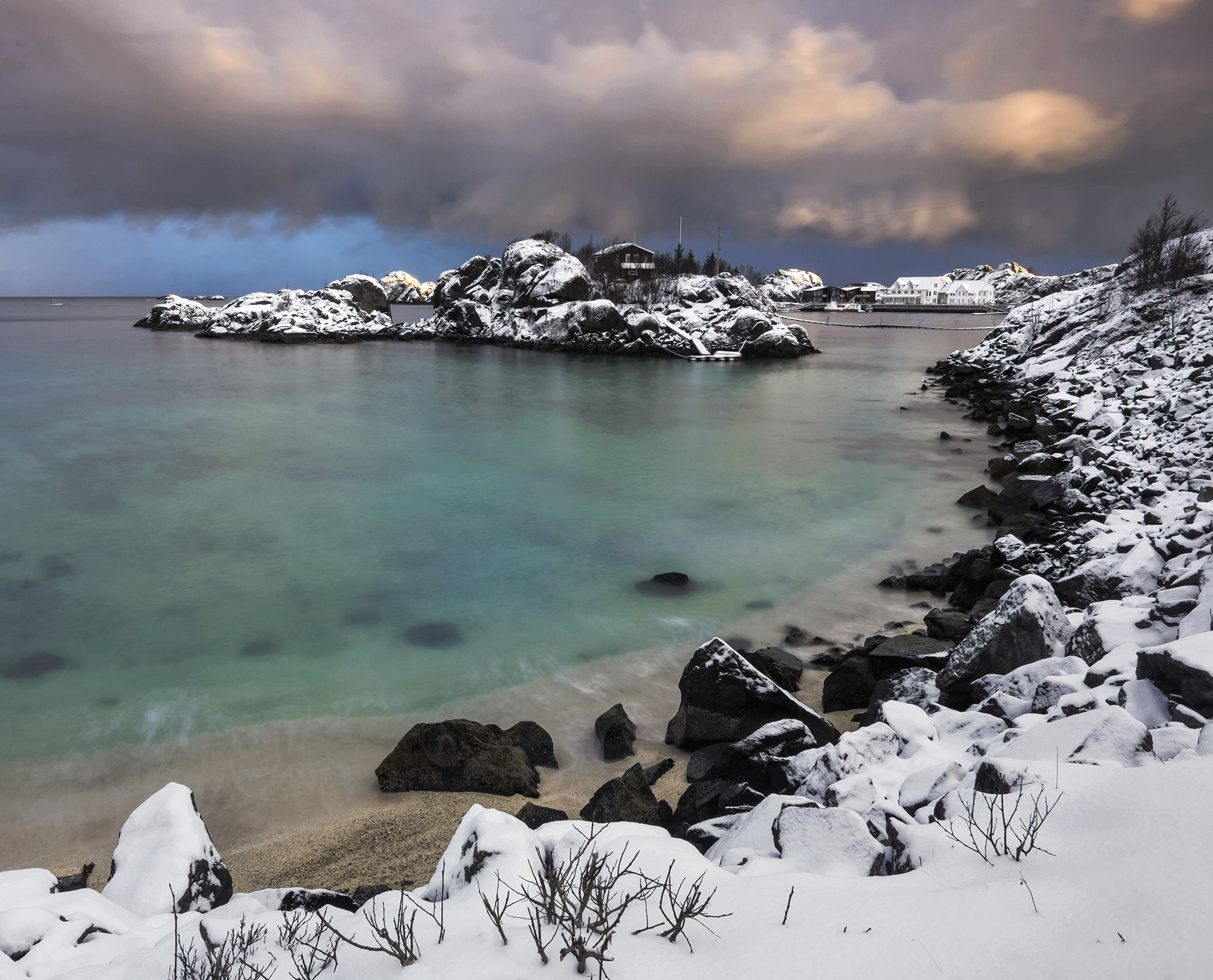 Storm Light Hamn, Hamn, Senja, Norway, storm, brewing, beam' light, dawn, lurid, heavy, snow, islands, rorbrua, harbour , photo