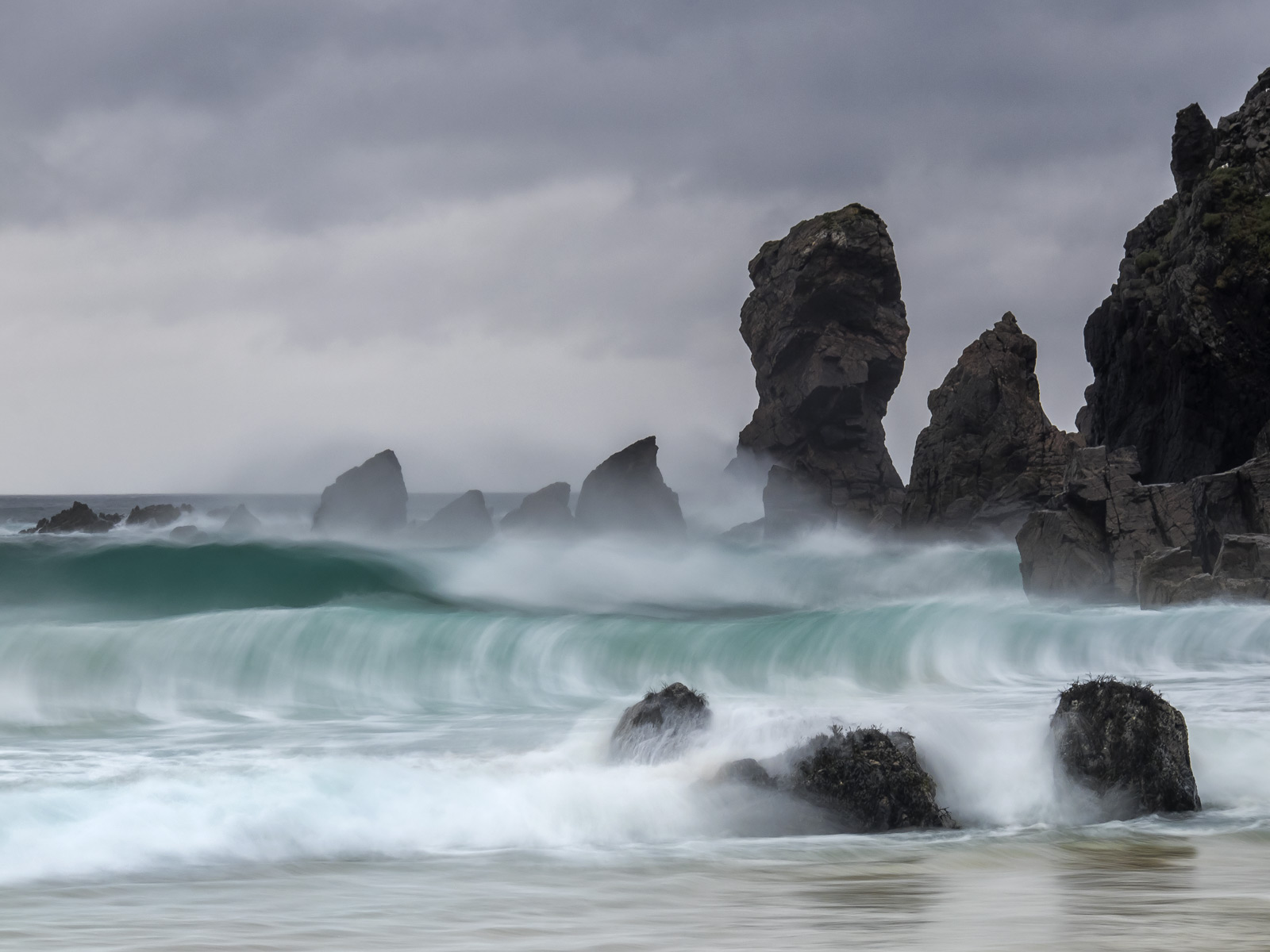 Storm Surge Dail Mhor, Dail Mhor, Lewis, Scotland, sandy, bay, rock stacks, beach, storm, turquoise, exploding, breeze, , photo