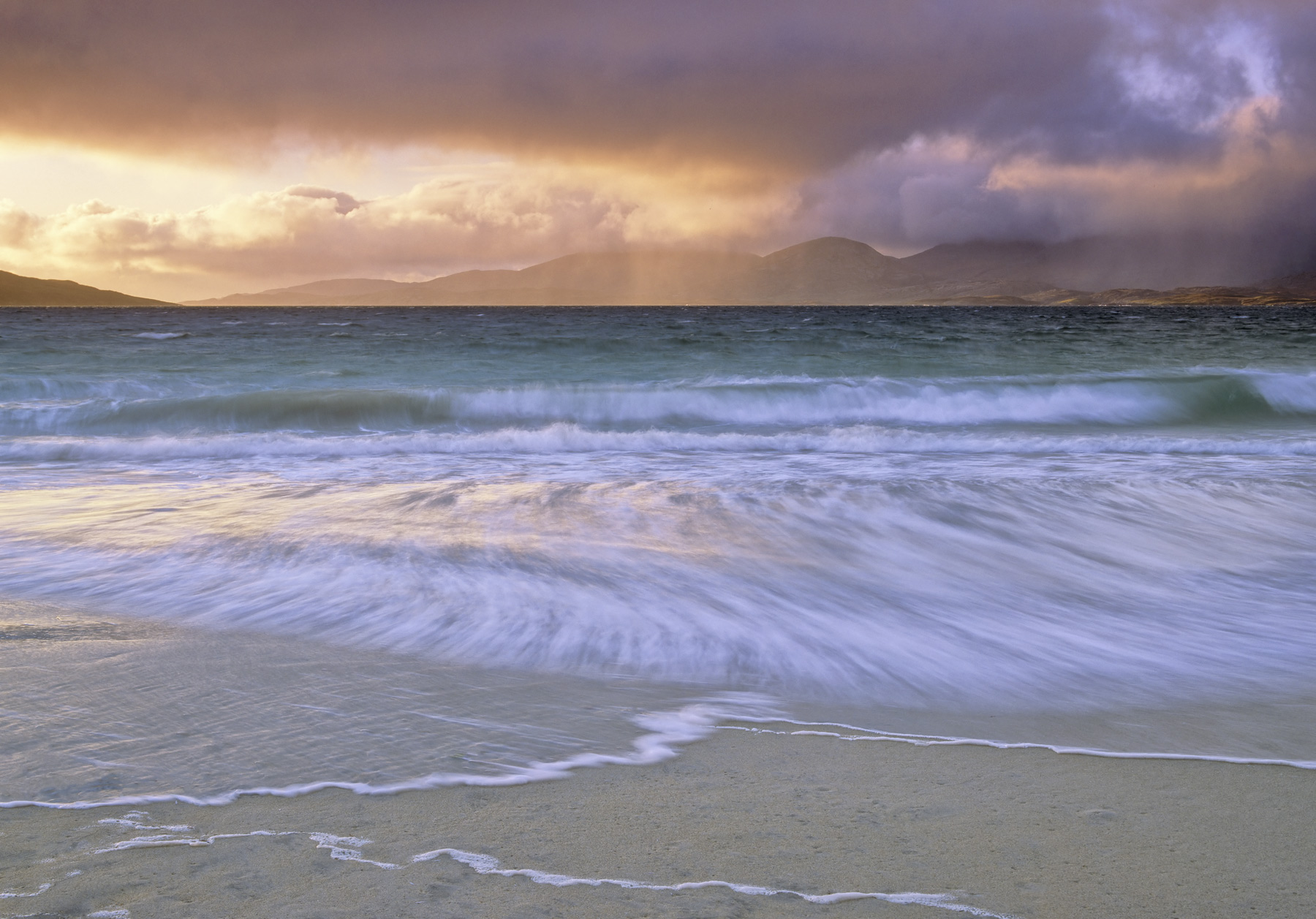 Storm Surge Rosamol, Traigh Rosamol, Harris, Scotland, colourful, sunrise, squally, shower, deluge, Harris, peaks, Atlan, photo