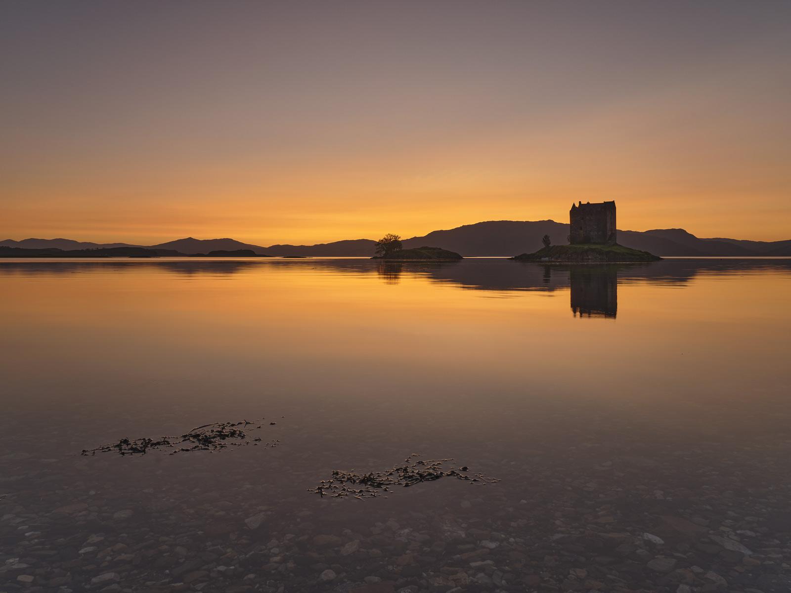 Sublime Castle Stalker, Appin, Argyll, Scotland, cloudless, sunset, clear, twilight, blue, tangerine, orange, still, gra, photo