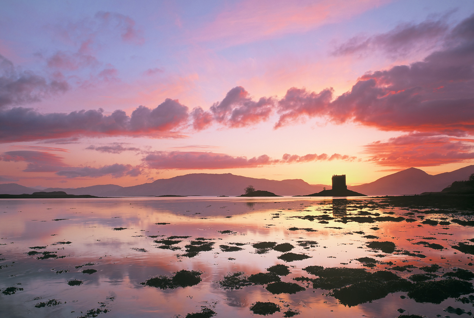Sublime Stalker, Castle Stalker, Appin, Scotland, beautiful, sunset, silhouetted, island, mountains, reflection, detritu, photo
