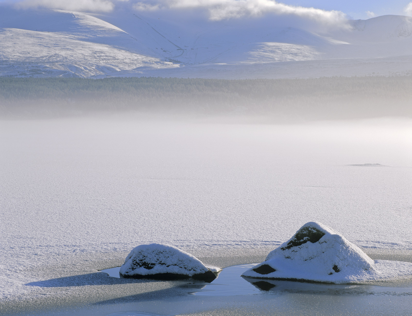 Mist rolled across the icy expanse of Loch Morlich after a very grey and snowy start to the morning and as it did so the sun...