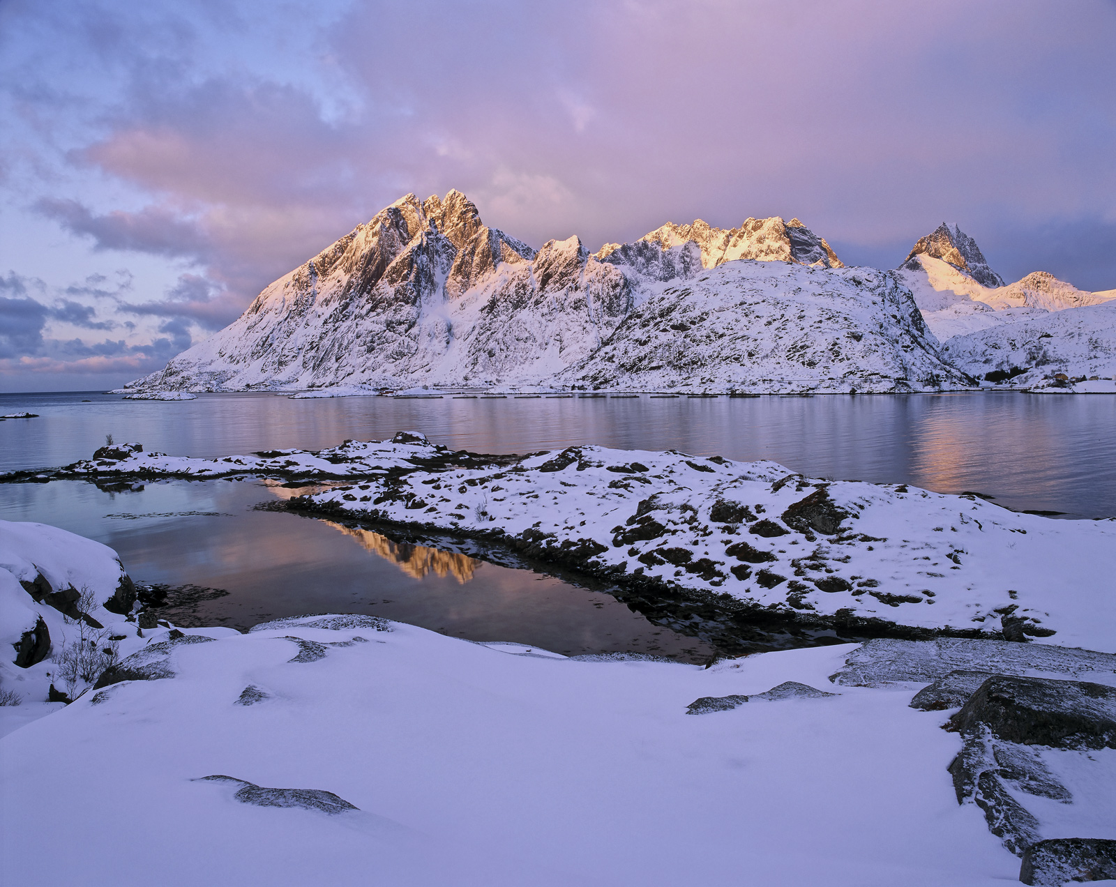 Sund Candles, Sund, Lofoten, Norway, golden, peaks, mountains, snow, burning, winter, squalls , photo