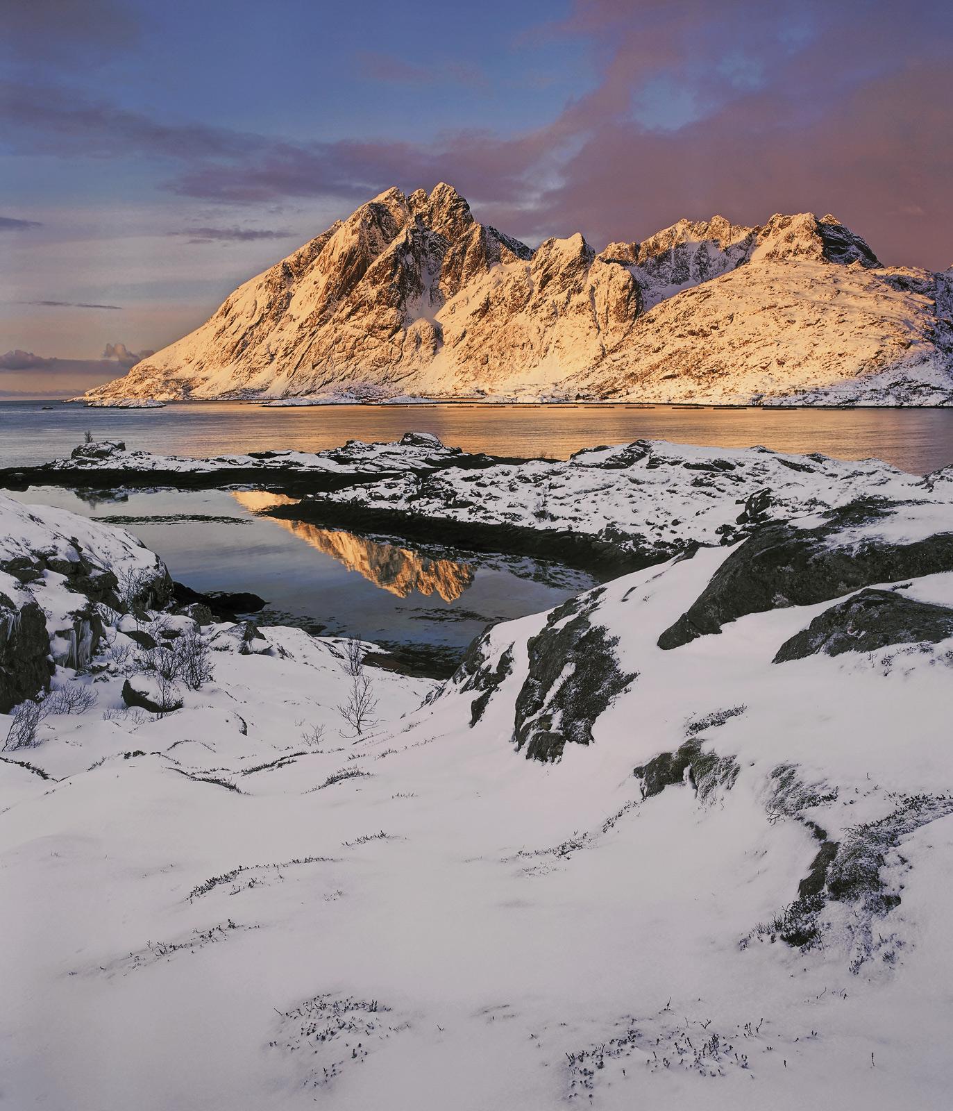 Sund Caramel, Sund, Lofoten, Norway, sunrise, fjord, hamlet, snow, peaks, caramel, invrted, reflected, mountain, texture, photo