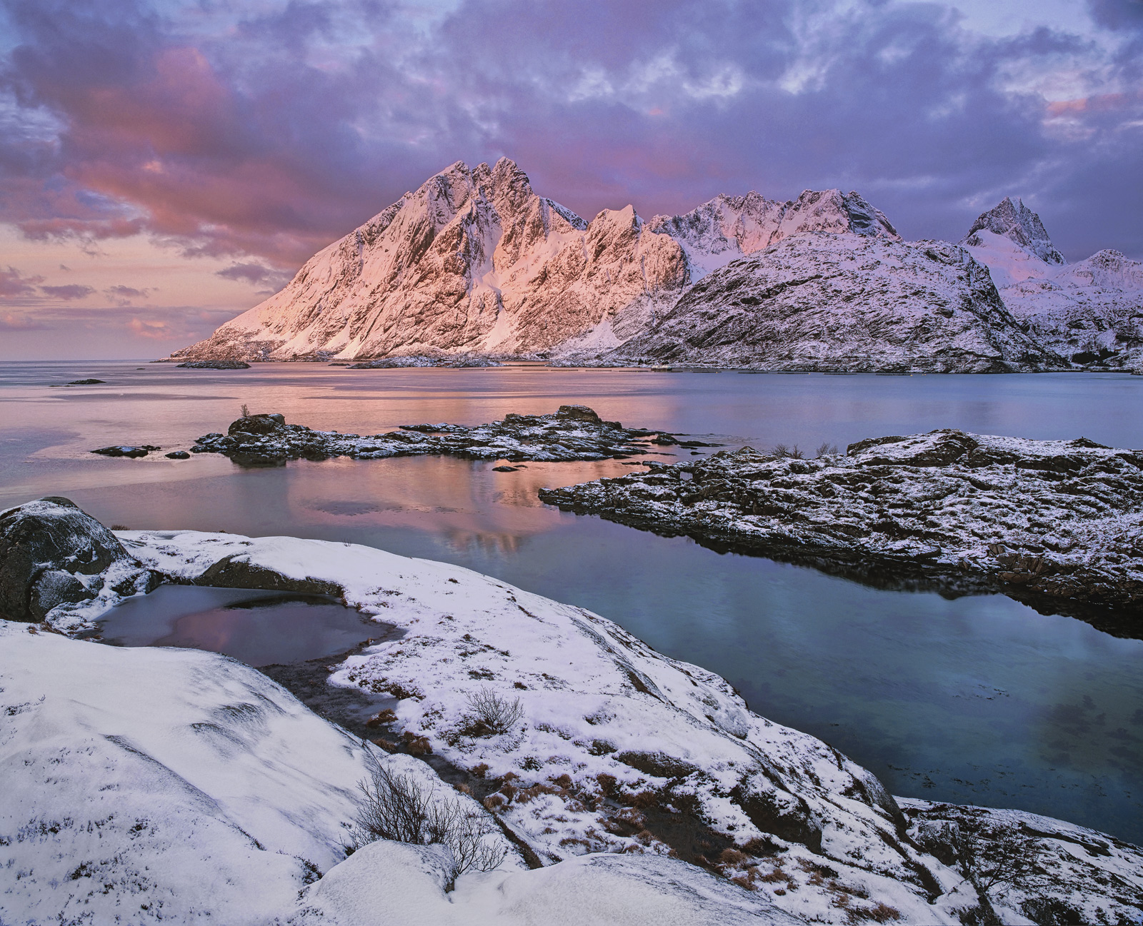 This is rapidly becoming one of my very favourite locations on the remarkable island of Lofoten. The mountains are impossibly...