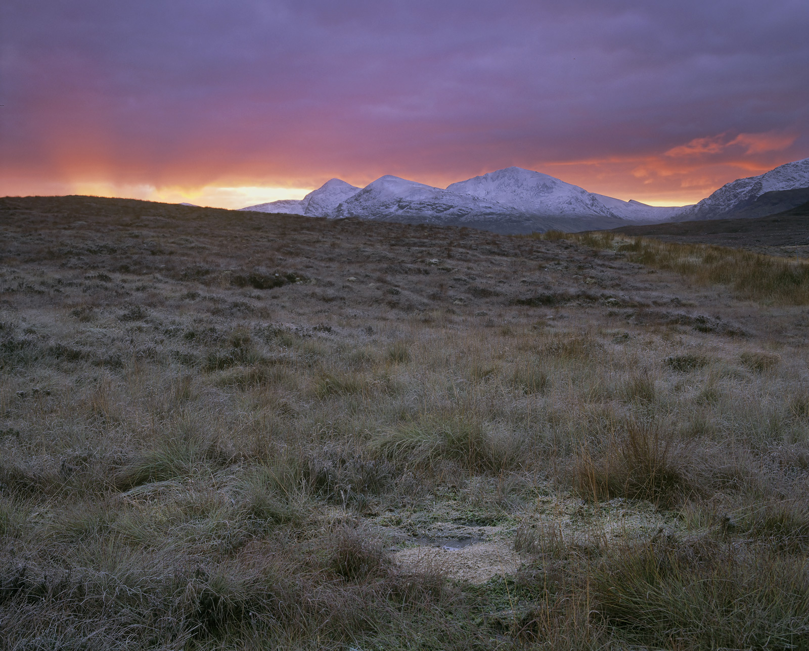 A gorgeous scarlet sunrise complete with diverging sunrays exploded over the Fannichs on the high moorland road that connects...
