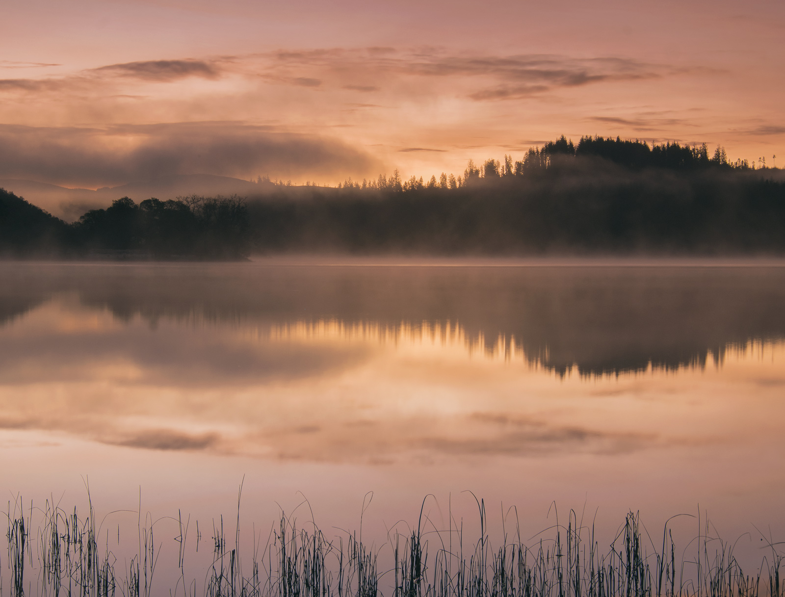 Sunrise and Mist Achray, Loch Achray, Trossachs, Scotland, silhouetted, horizon, epic, sunrise, mirror, smooth, mist, hi, photo