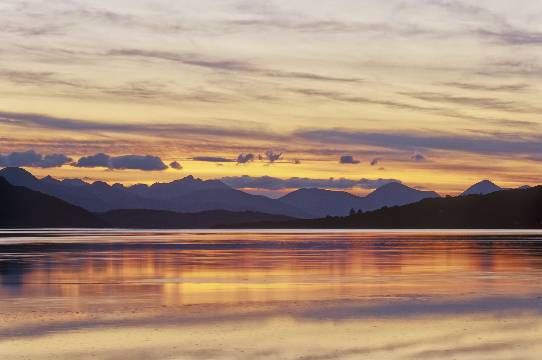 Sunset Cullin Ridge, Loch Duich, Highlands, Scotland, reflected, surface, purple, silhouetted, mountains, Cuillins, skyl, photo
