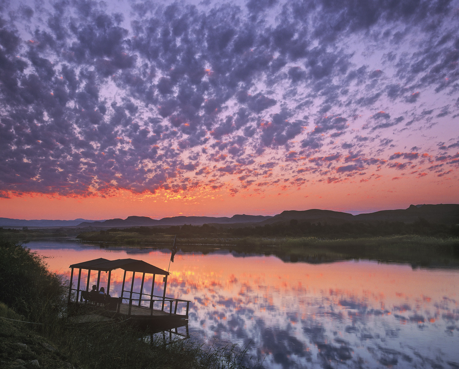 Sunset Gazing, Orange River, South Africa, Africa, border, Namibia, river, passport, sunset, cloud, flecked, sky, advent, photo