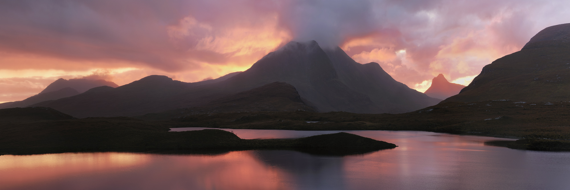 Sunset Pano Knockan Crag, Knockan Crag, Assynt, Scotland, fiery, red, glow, sunset, seeping, reflected, mountains, epic, photo