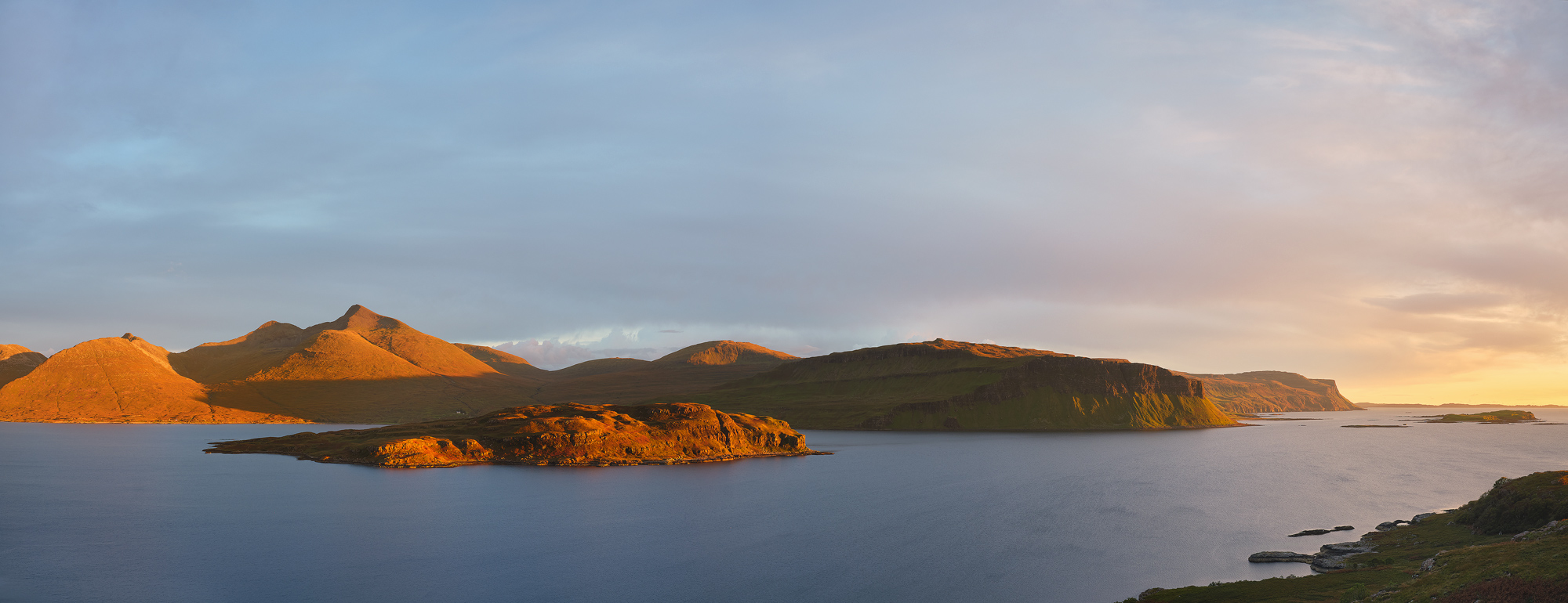 Sunset Panorama, Gribun, Loch Na Keal, Mull, Scotland, autumnal, evening, ginger, deer grass, clouds, horizon, cliffs, photo