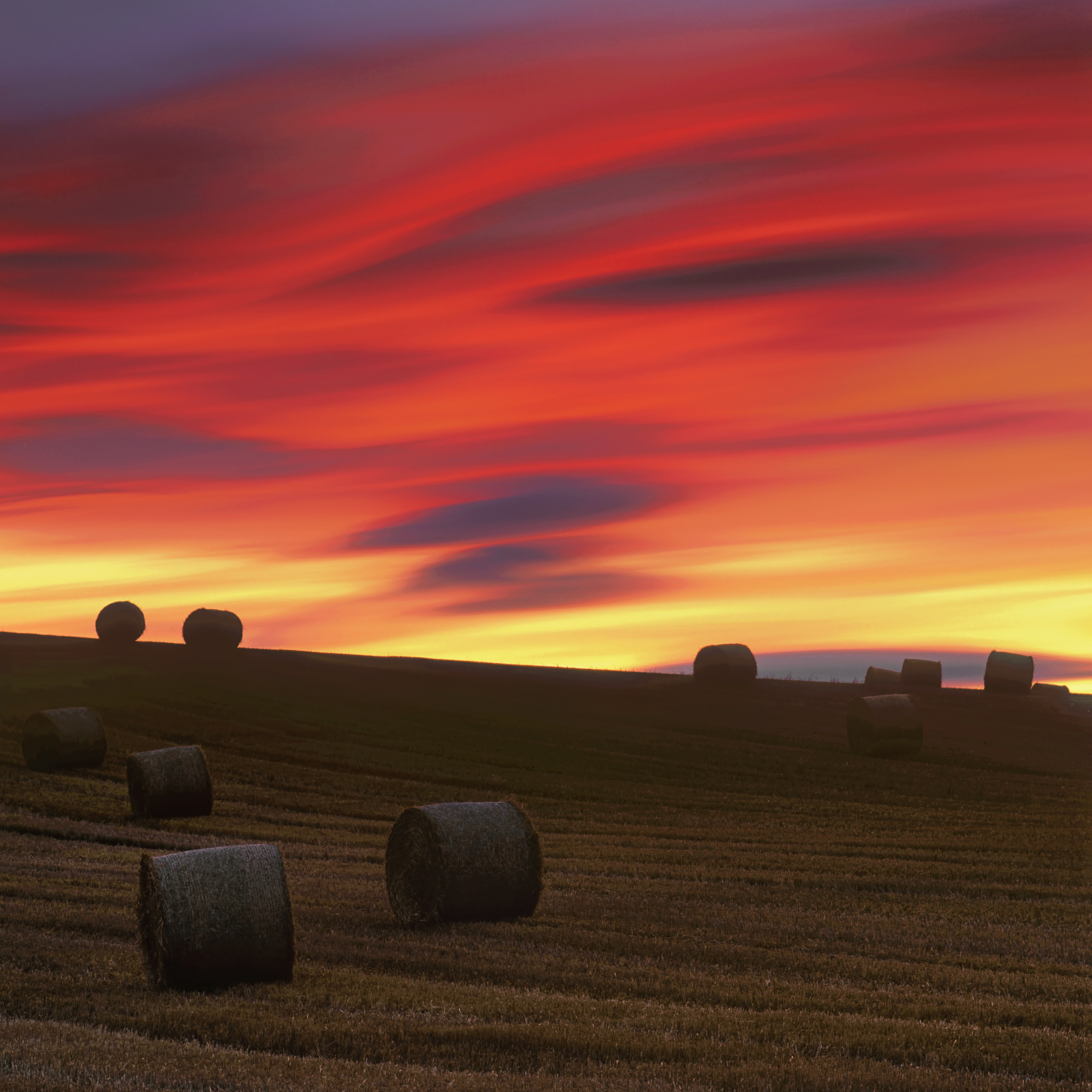 Rolled bales of straw on a sloping field, shortly after the sun had set. The long exposure of nearly six minutes is responsible...