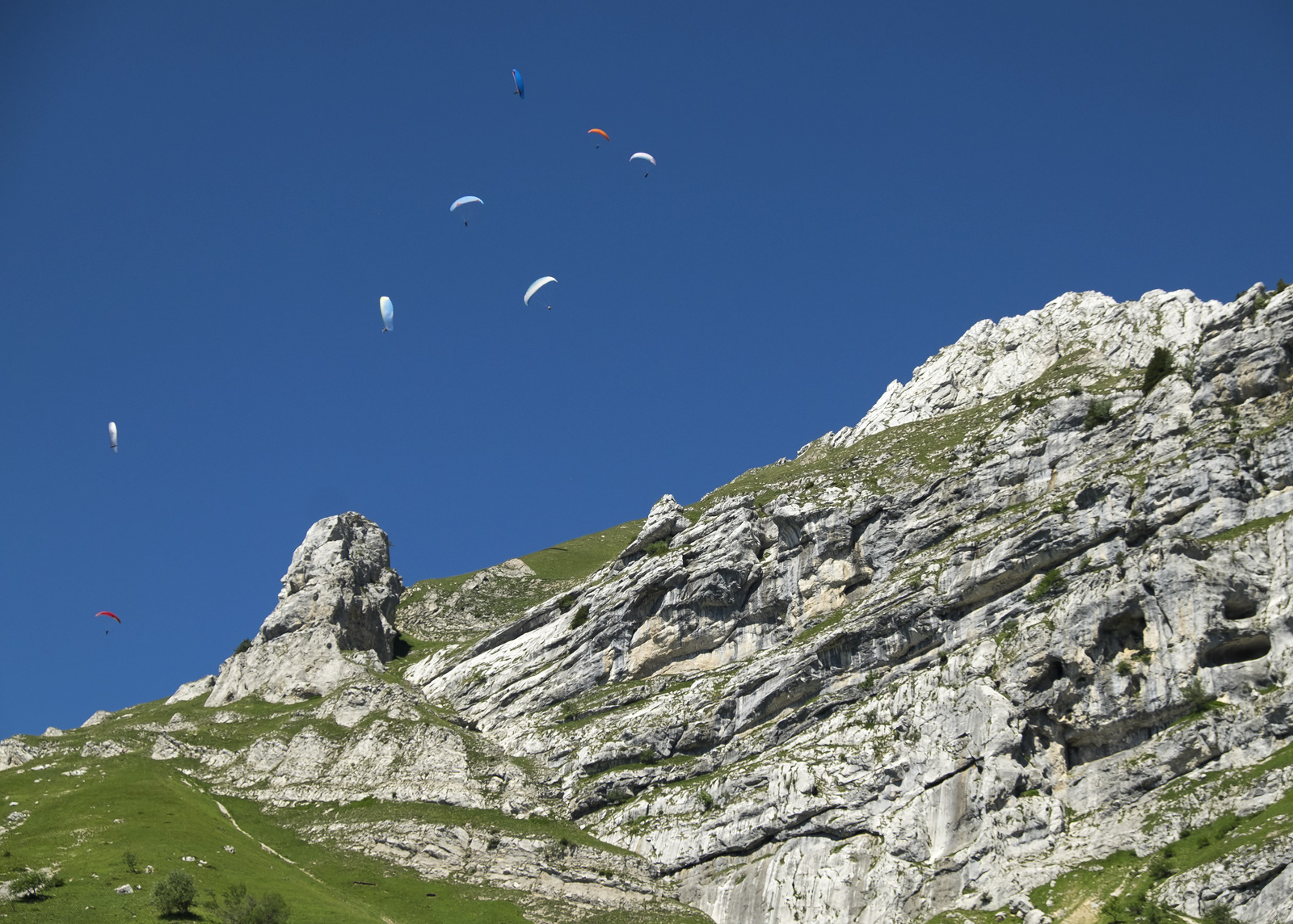 Suspended Alps, Annecy, Haute-Savoie, France, high, Alps, alpine, meadow, blue, sky, climb, lush, flock, paragliders, thermals, photo
