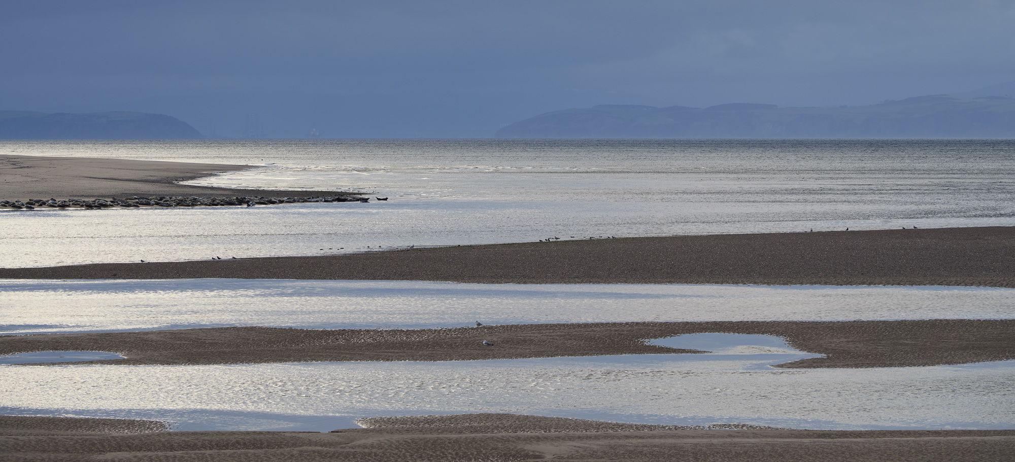 A high viewpoint from the sand dunes at Findhorn flattened perspective and created pleasing patterns of sand and water.