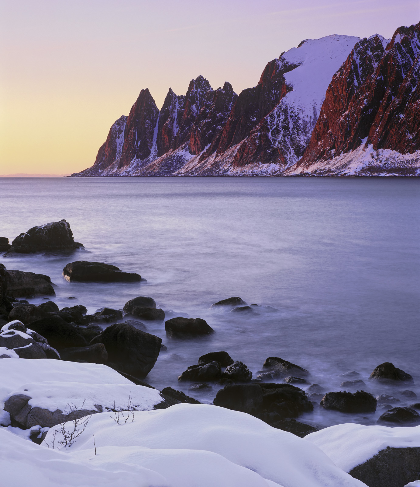The Devil's Bloody Teeth, Tungeneset, Senja, Norway, rock, compressed, peaks, cartoon, folded, snow, sunset, embers , photo