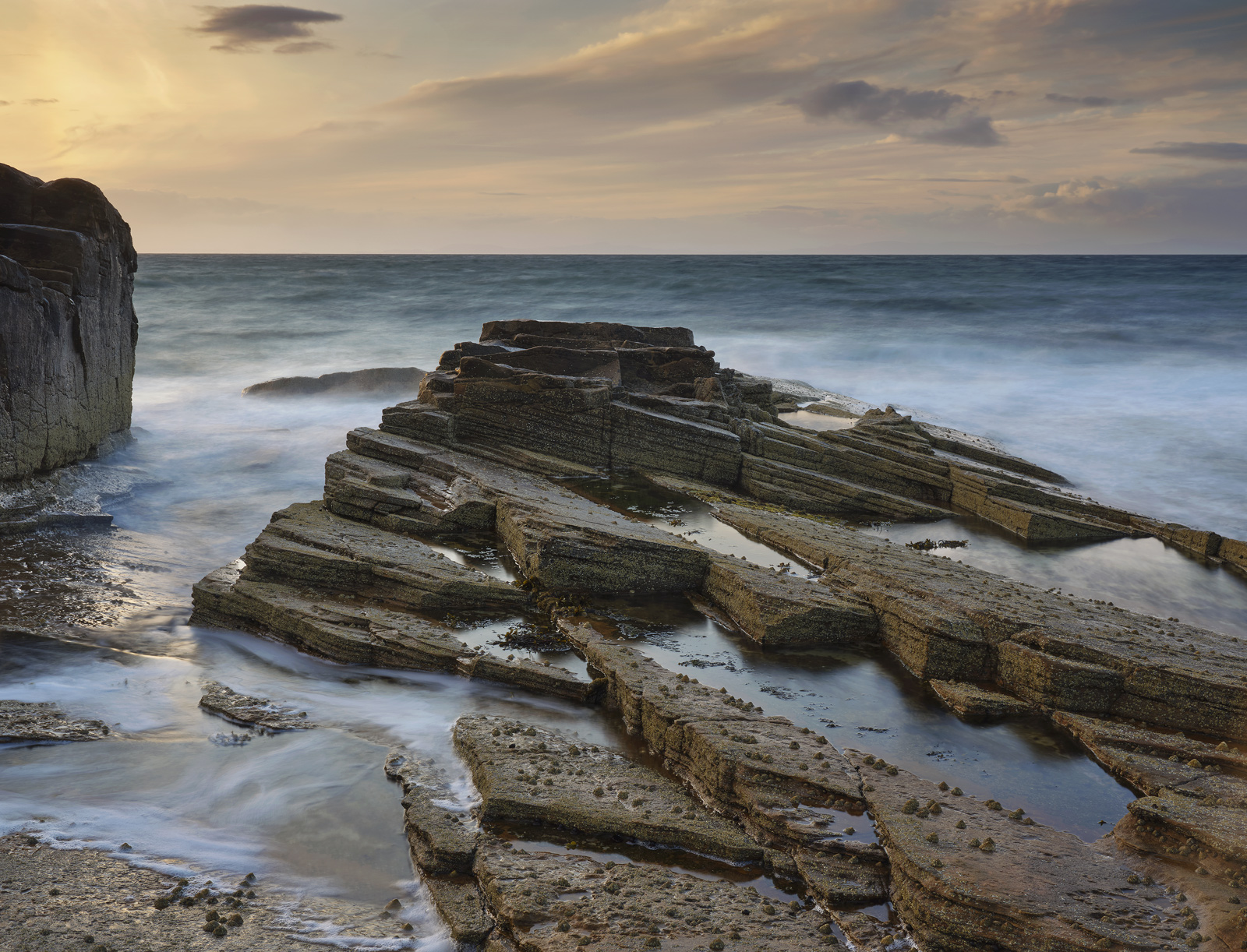 Tide and Motion Hopeman, Hopeman, Moray, Scotland, turbulent, irresistable, opposing, gold, blue, reflecting, banana, ti, photo
