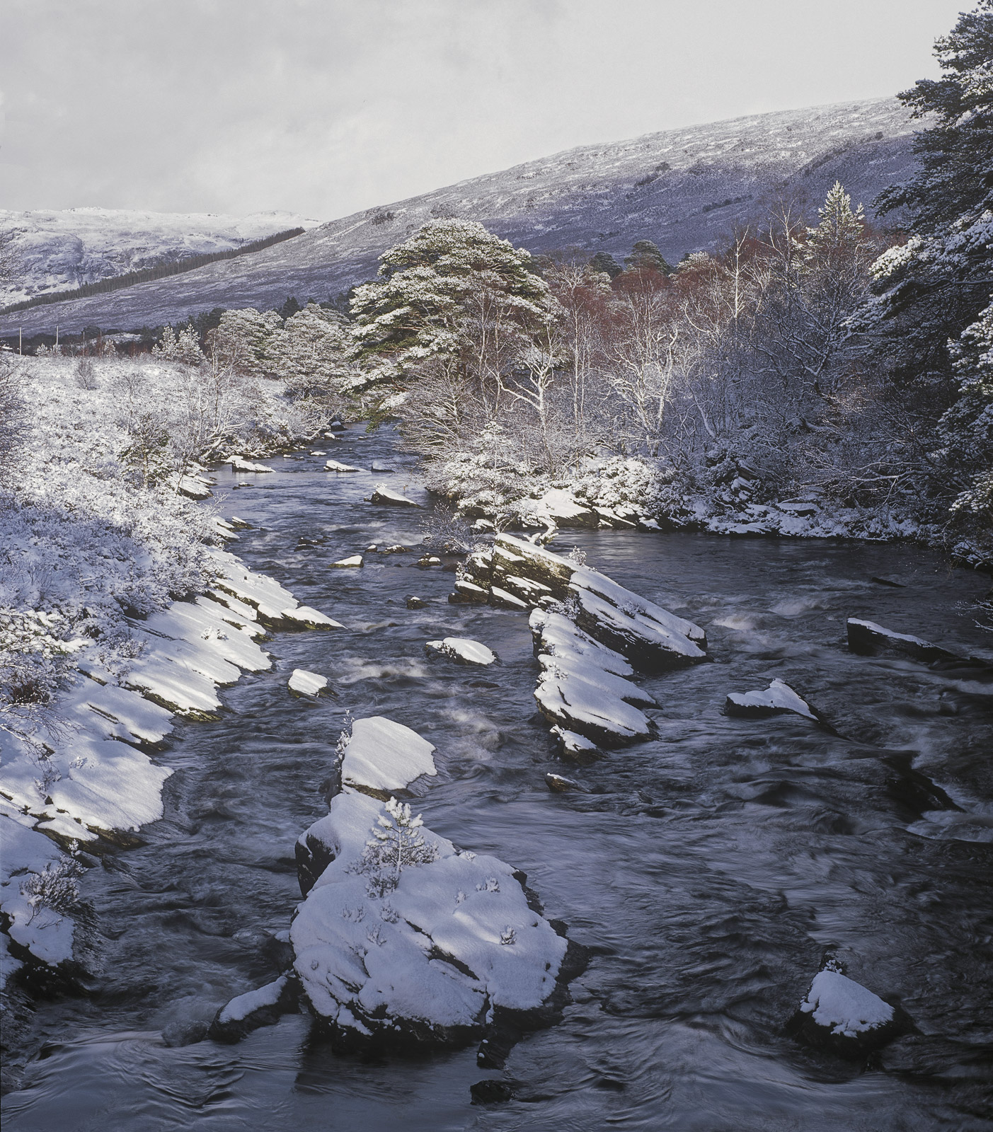 Torridon River, Glen Torridon, Torridon, Scotland, wildest, magnificent, peaks, river, scenic, winter, snow, dusted, sco, photo