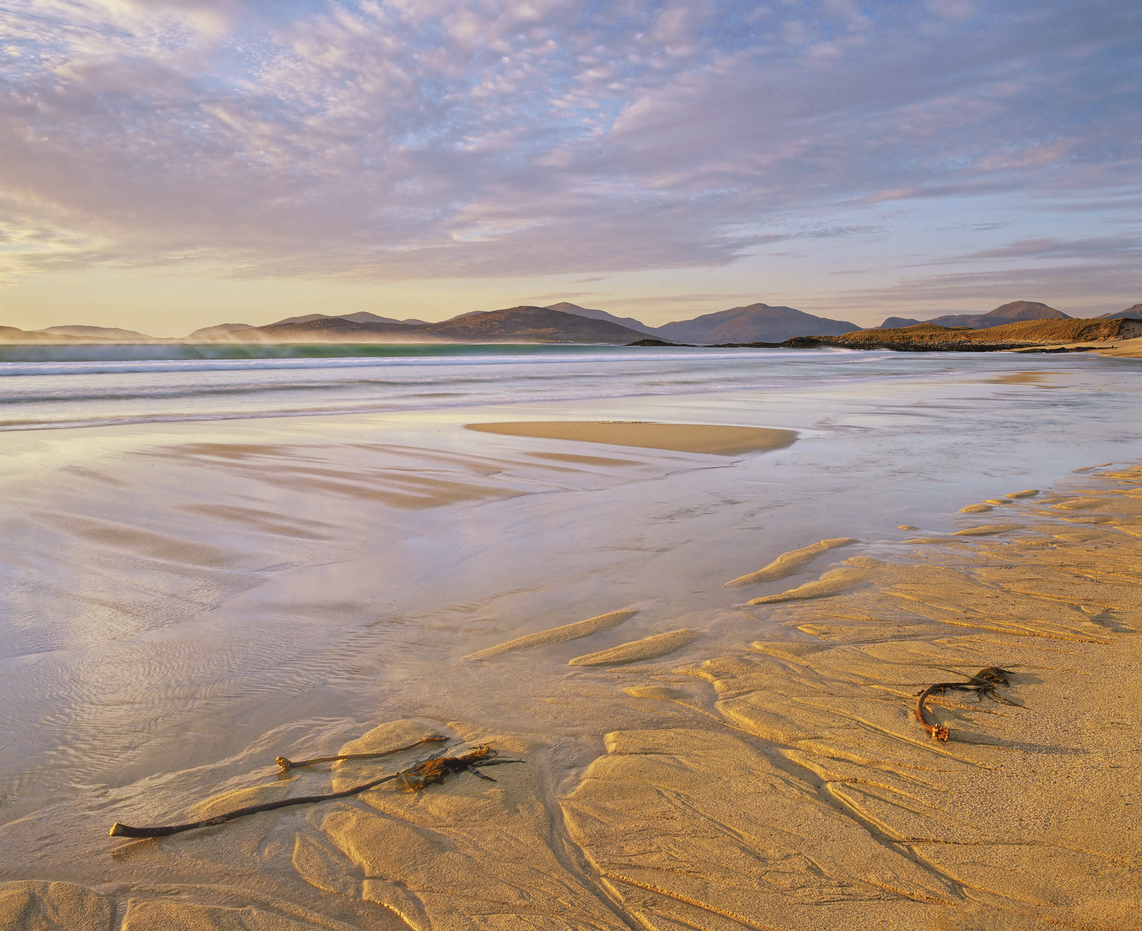 Traigh Mhor Buttersotch, Traigh Mhor, Harris, Scotland, low tide, beach, sand, patterns, Spring, light, sea, breakers, s, photo