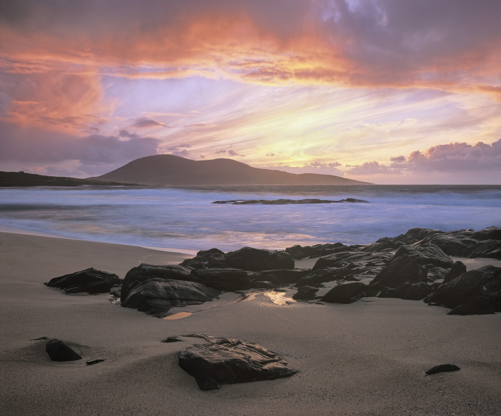 Traigh Mhor Rouge, sunset, beach, orange, sand, granular, unblemished, turquoise, gullys, mounds, Celaphabal, seas, hill, photo