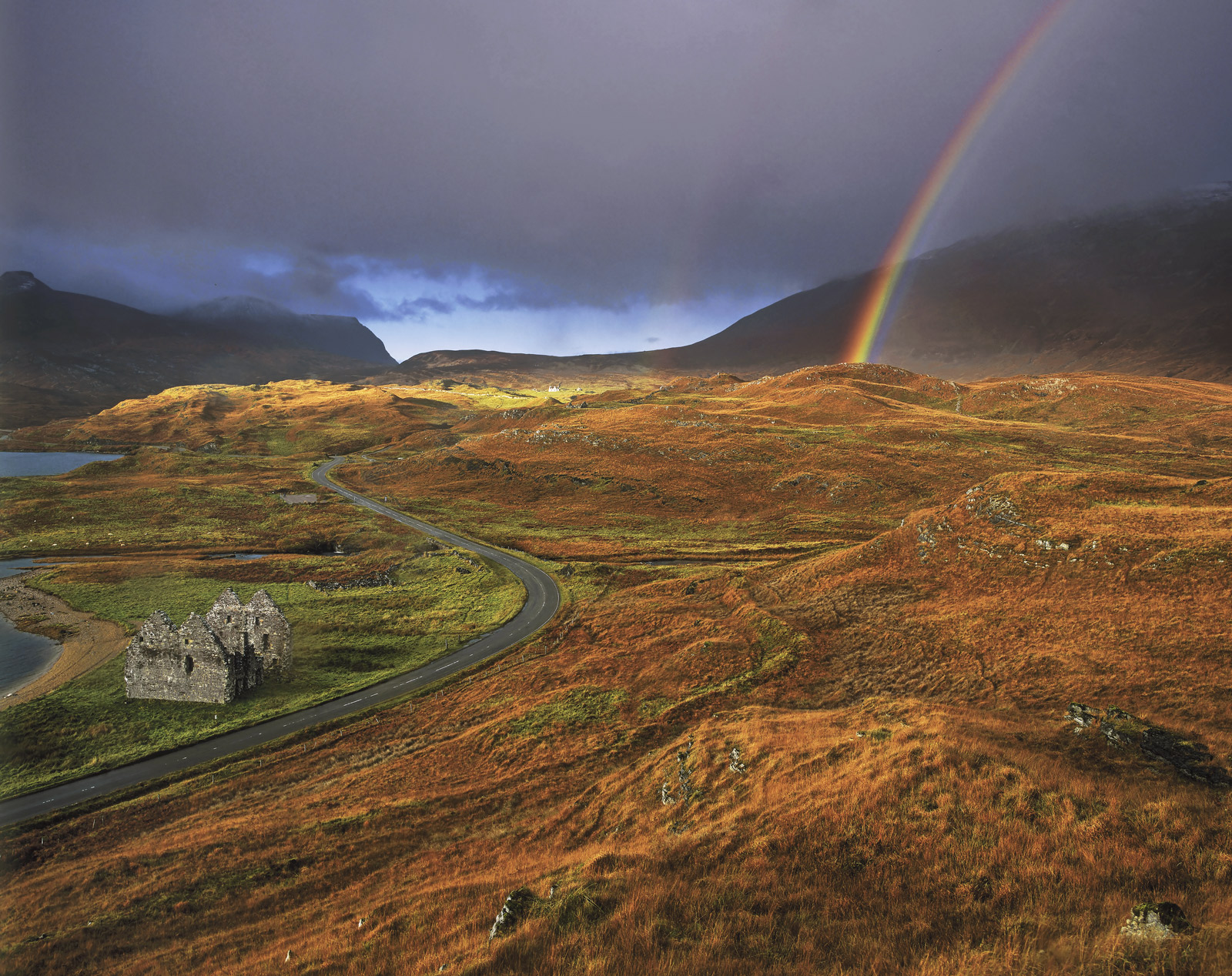 Transient Light Calda House, Loch Assynt, Sutherland, Scotland, dramatic, light, ominous, clouds, rainbows, rain, trans, photo