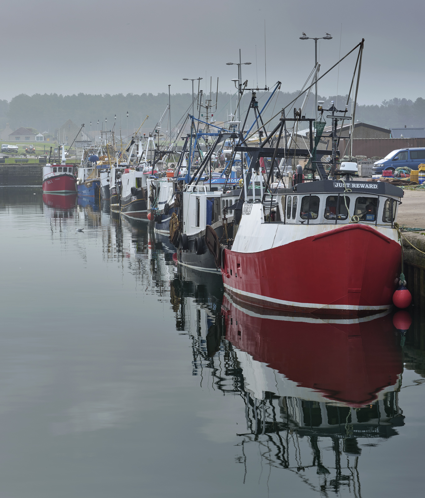Trawler Parade, Burghead, Moray, Scotland, trawler, boats, quay, curved, line, still, coast, faint, mist, reflections  , photo